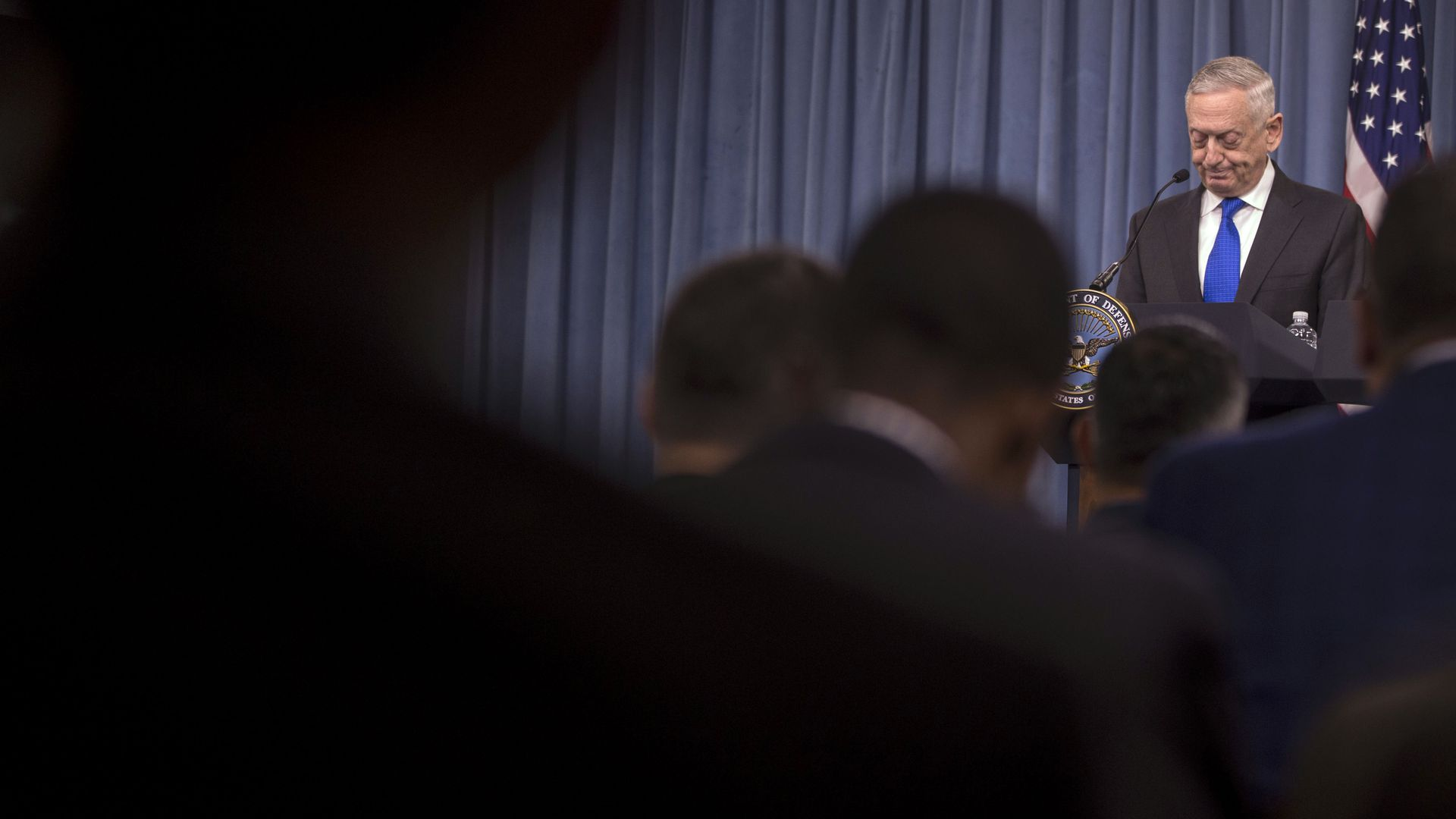 Defense Secretary James Mattis speaks before the press.