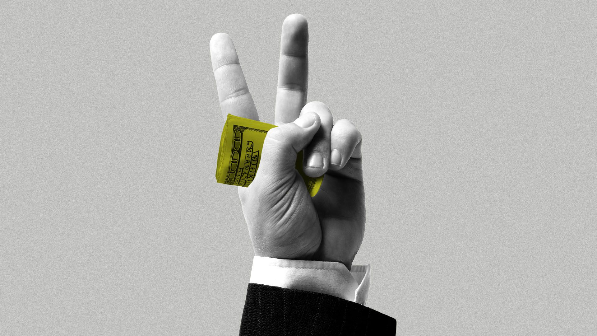 Illustration of a hand in a business suit giving a peace sign while holding a wad of hundred dollar bills