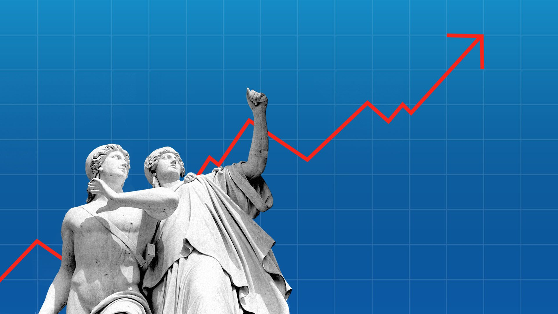 Illustration of an upward trending stock chart with Greek statues cheering on