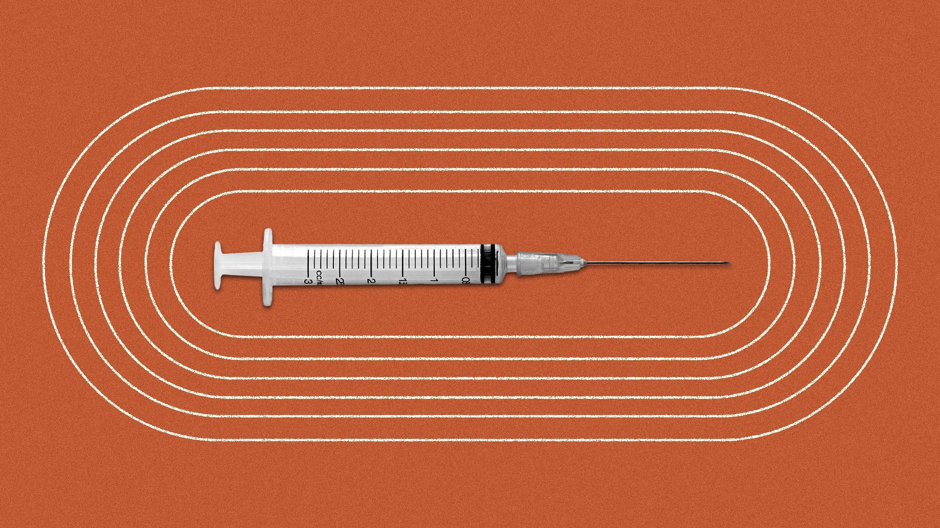 a race track with a vaccine needle in the middle
