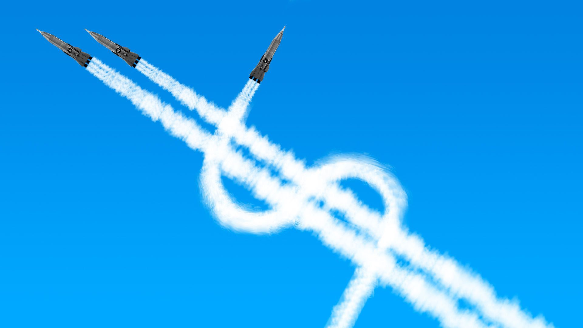 Three jets leave a trail of fumes as they fly that creates a money symbol.