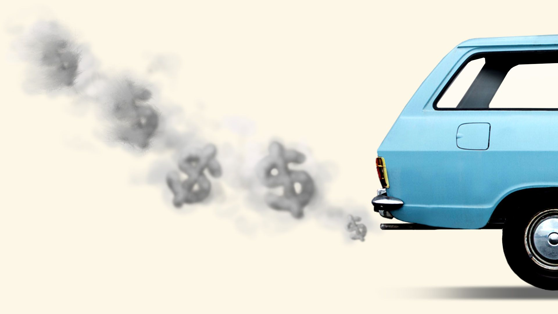 Illustration of a car with exhaust in the shape of dollar signs