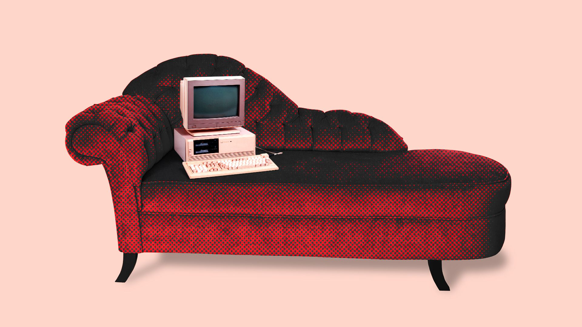 Illustration of a computer on a couch