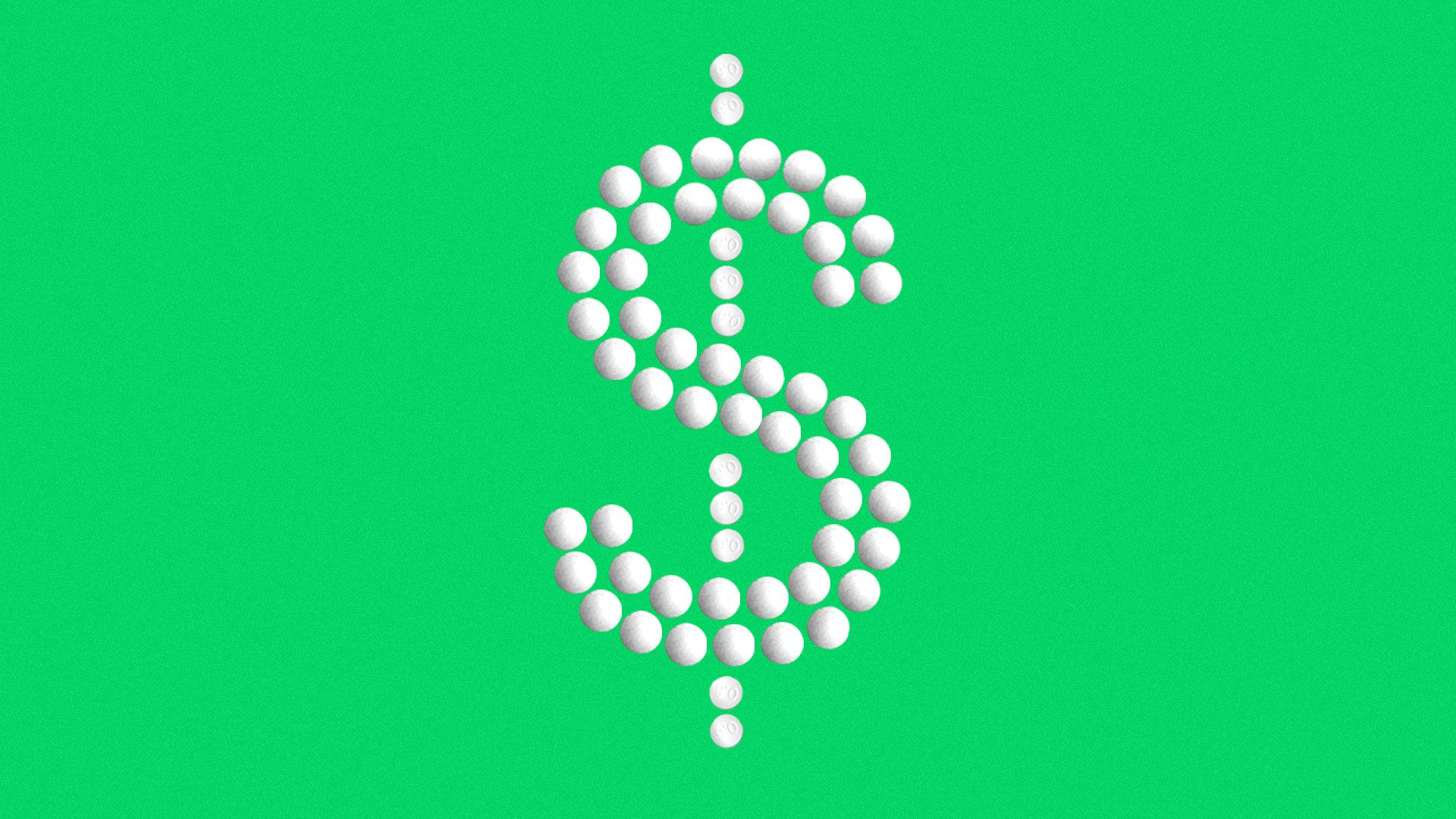 Illustration of dollar sign formed by pills.