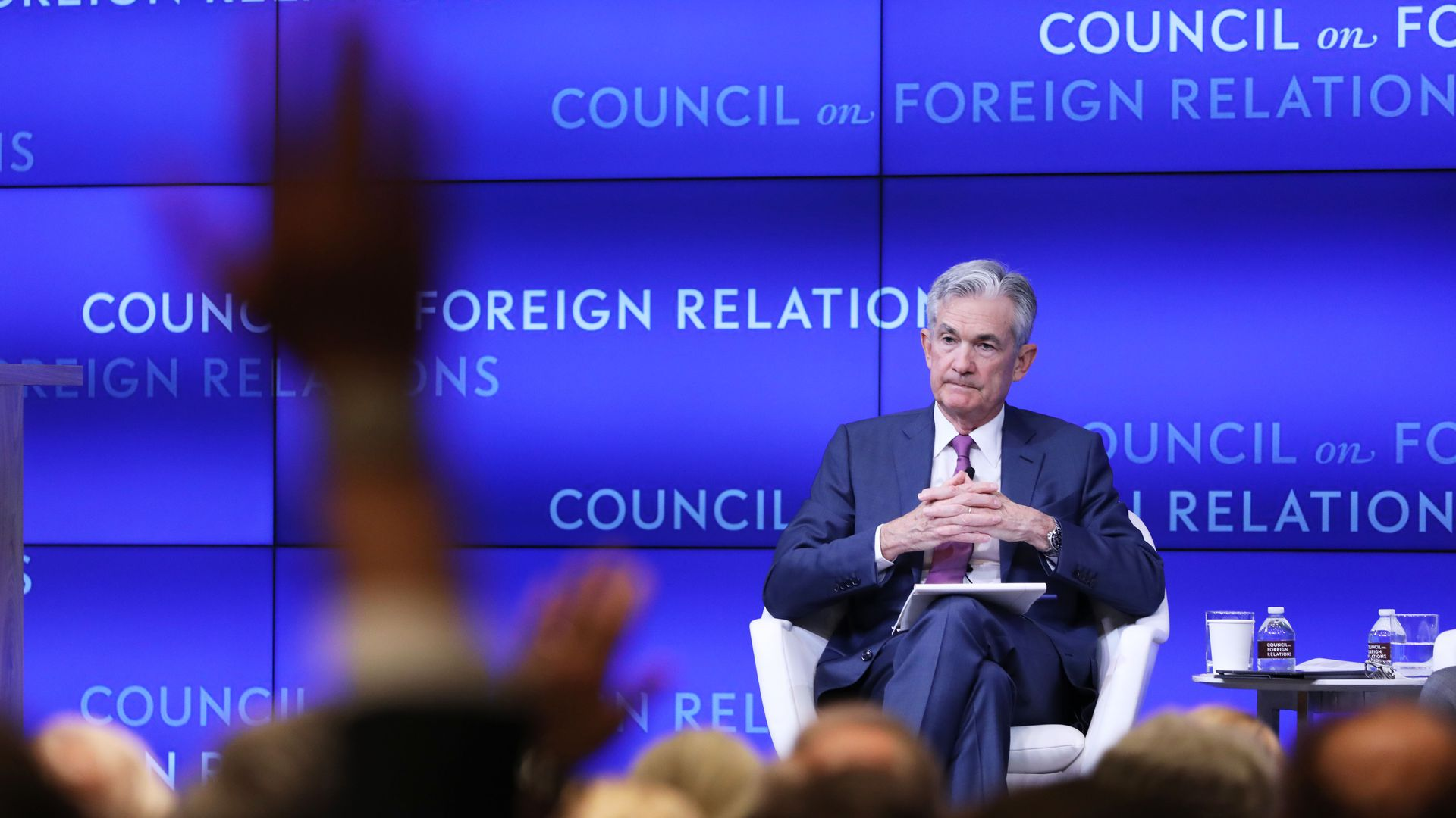 Jerome Powell (left), chairman of the Board of Governors of the Federal Reserve, takes questions at the Council on Foreign Relations.