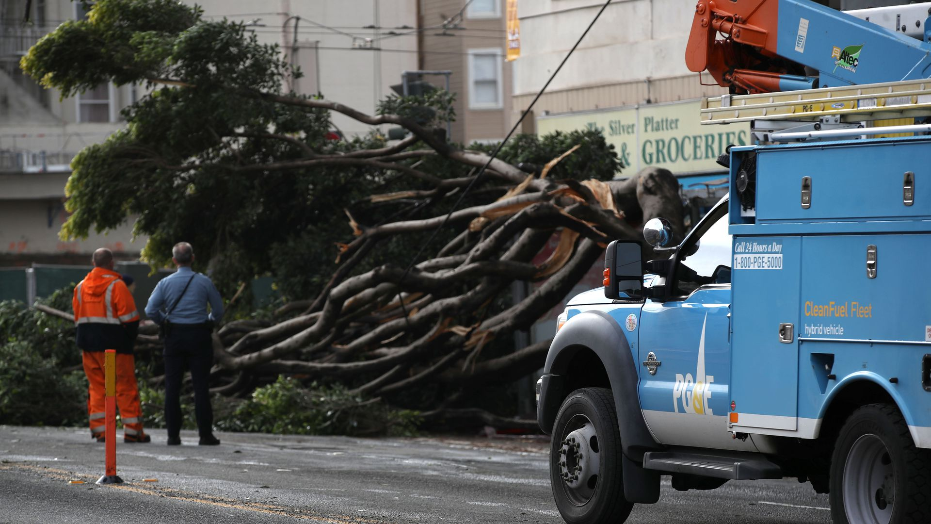 PG&E truck surveys damage from fallen tree