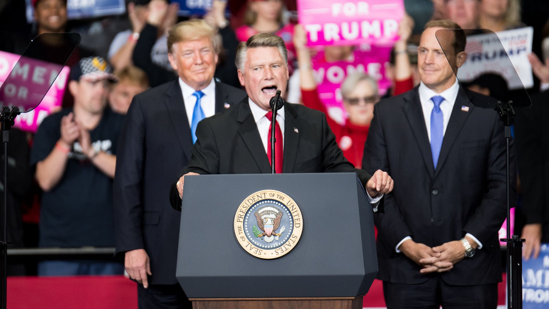 North Carolina's 9th district Republican candidate at a campaign rally last year.