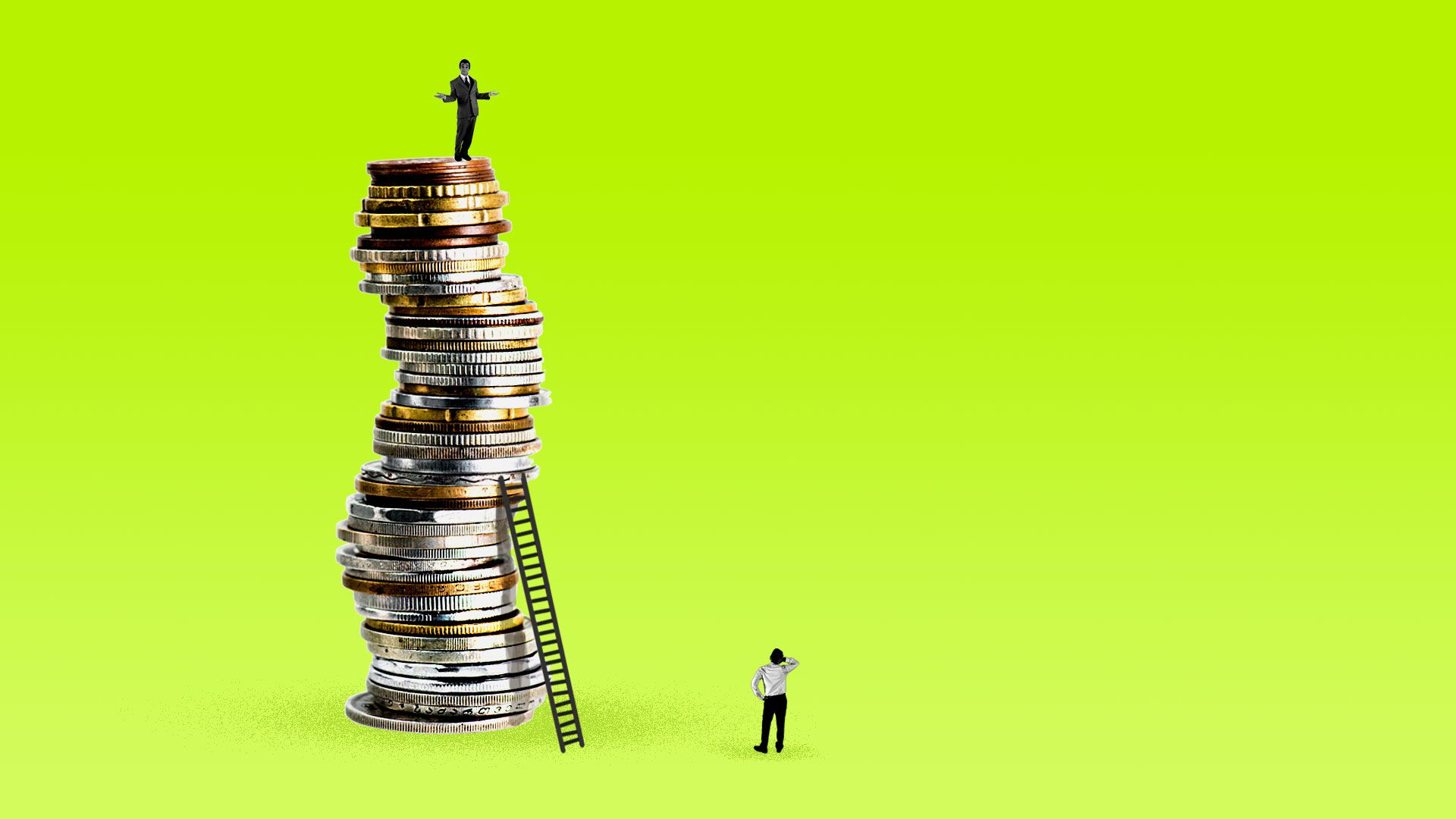 A man standing on a large pile of coins with another man trying to reach him with an inadequate ladder