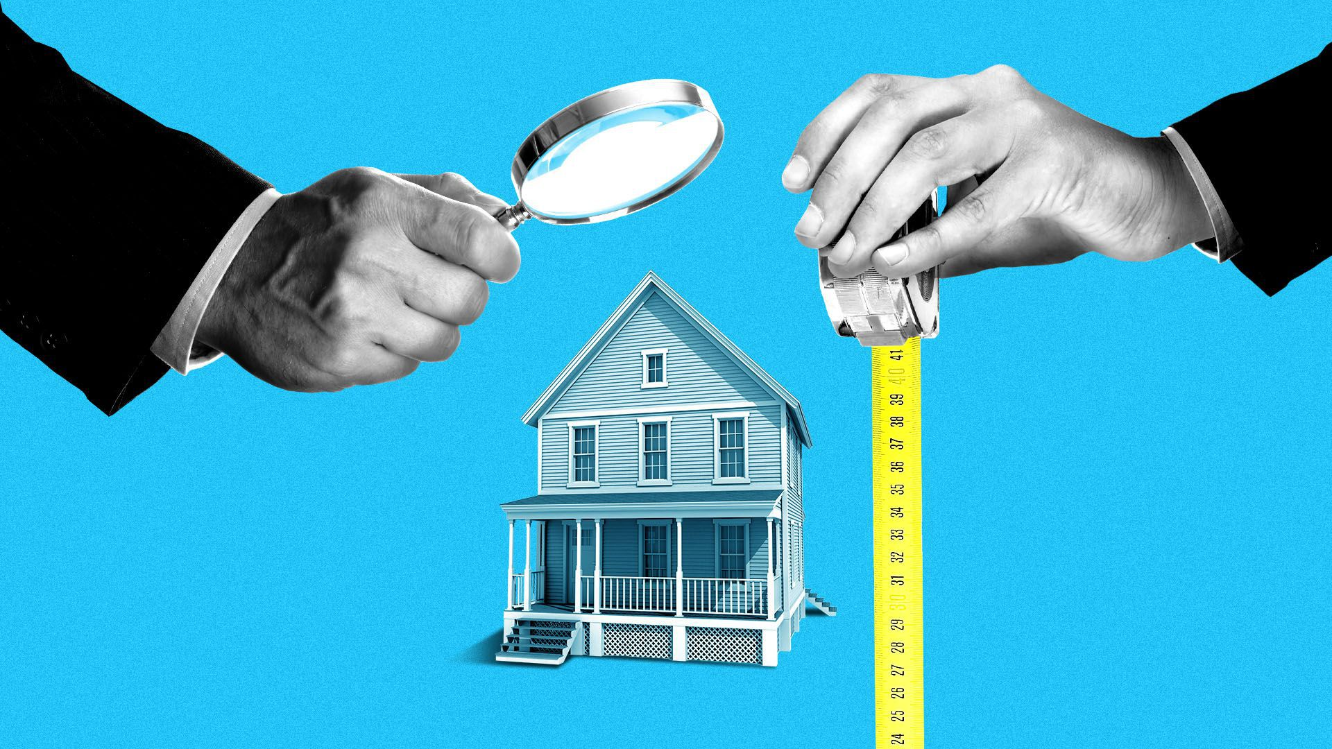 Illustration of a house being observed by a hand with a magnifying glass and another with a tape measure