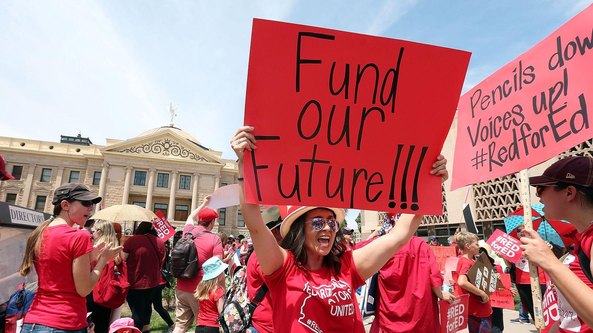 Teachers striking in Arizona.