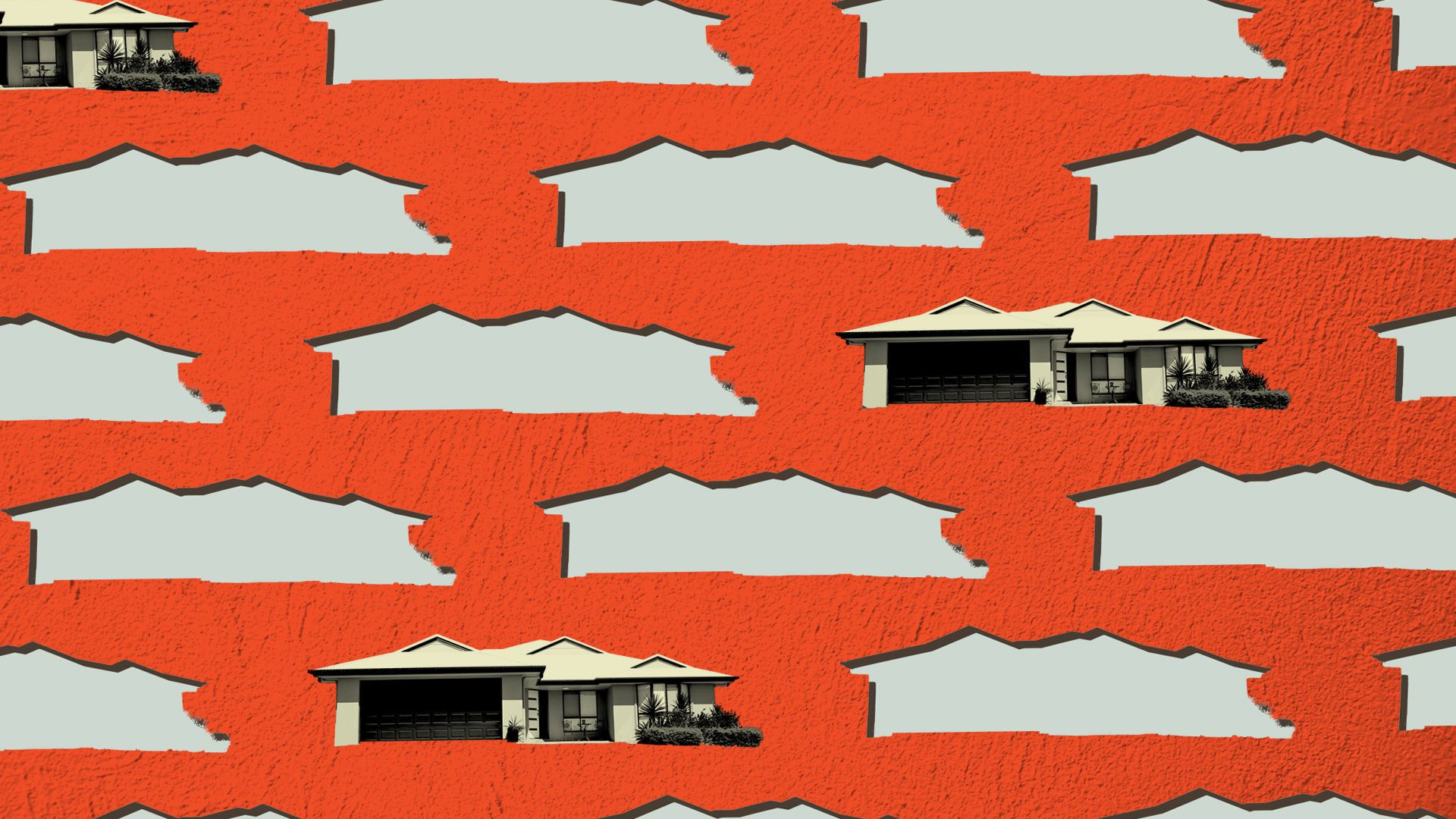 Illustration of a pattern of houses, most of them cut out with emptiness behind them.