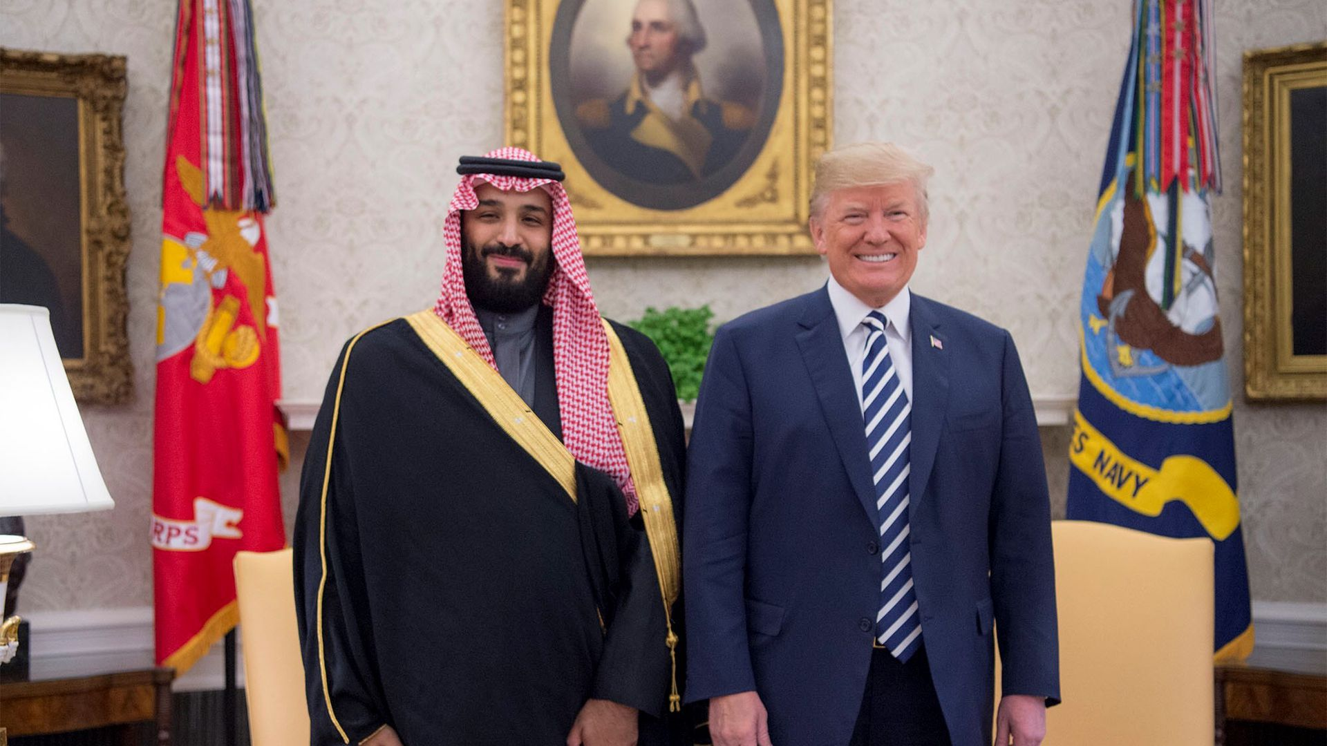 Saudi Crown Prince Mohammed bin Salman stands beside President Trump at the White House