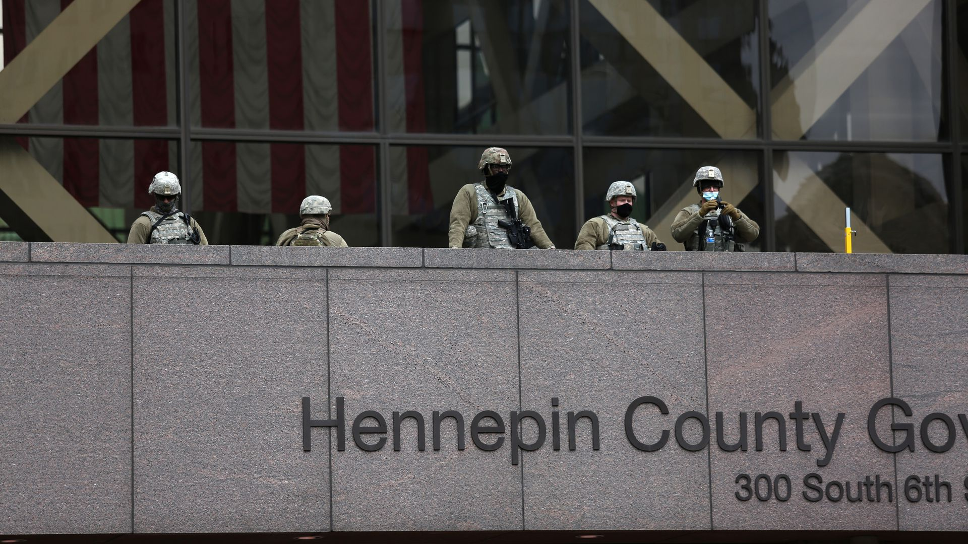 National Guard members at the Hennepin County Government Center