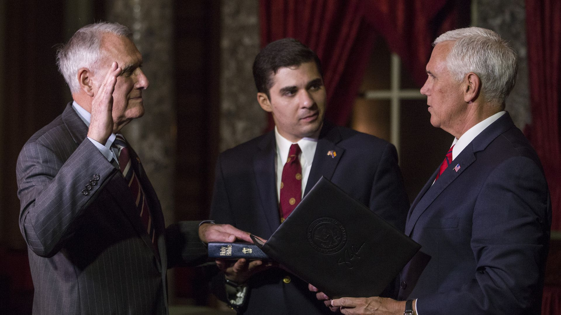 Sen. John Kyl being sworn into office by Mike Pence
