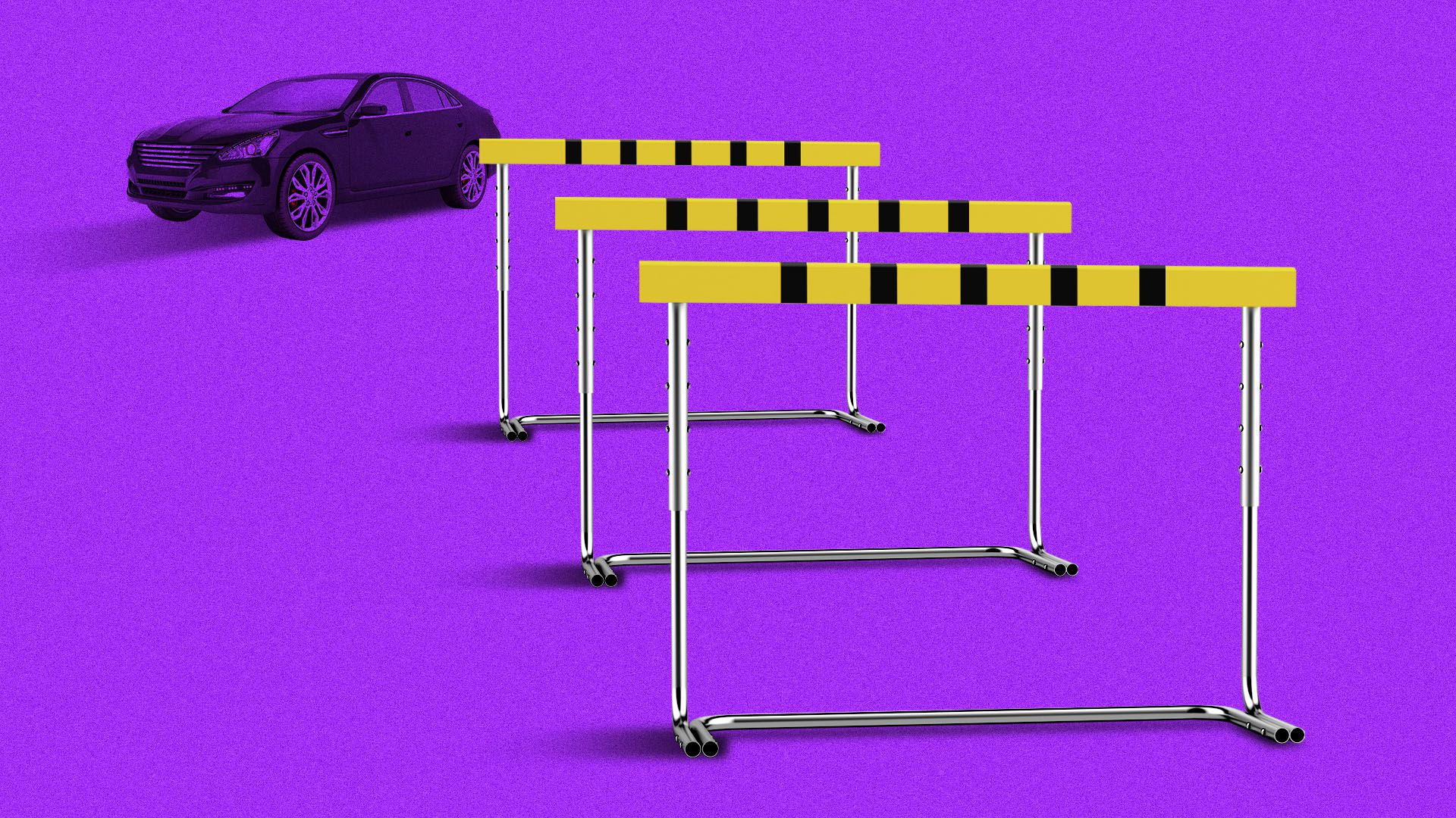 Illustration of car facing three hurdles