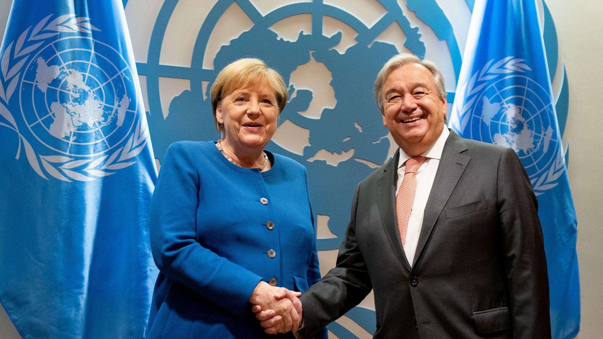 Chancellor Angela Merkel and UN Secretary-General Antonio Guterres.