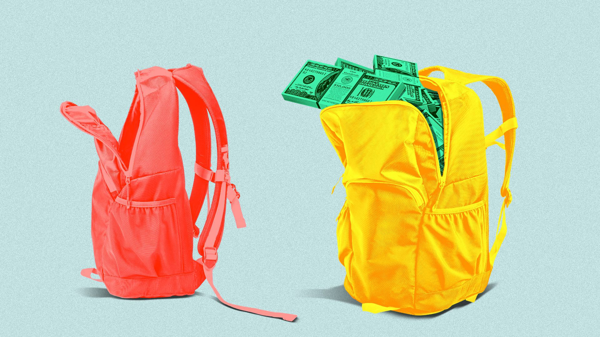 Illustration of two backpacks; one empty and one stuffed with cash.
