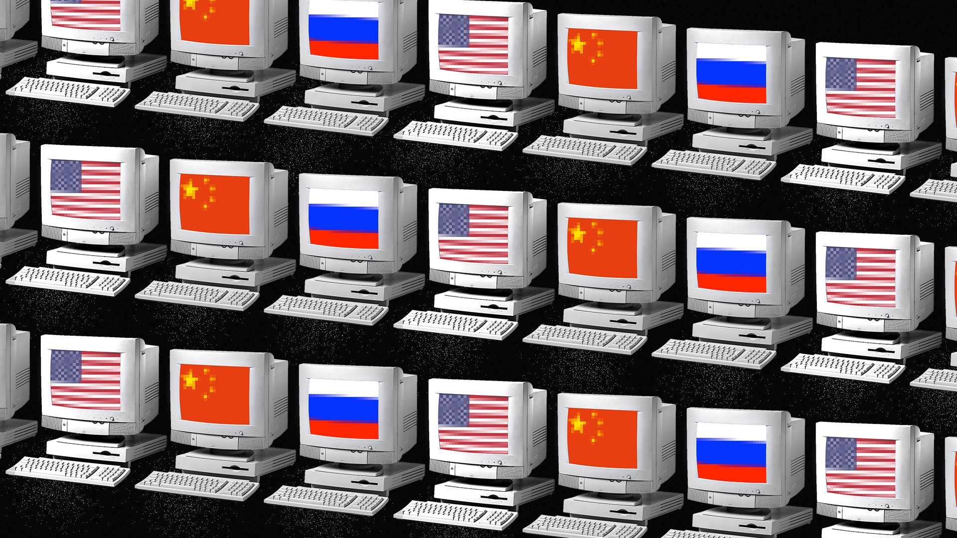 Computer screens with the Russian, Chinese and American flags on the monitor