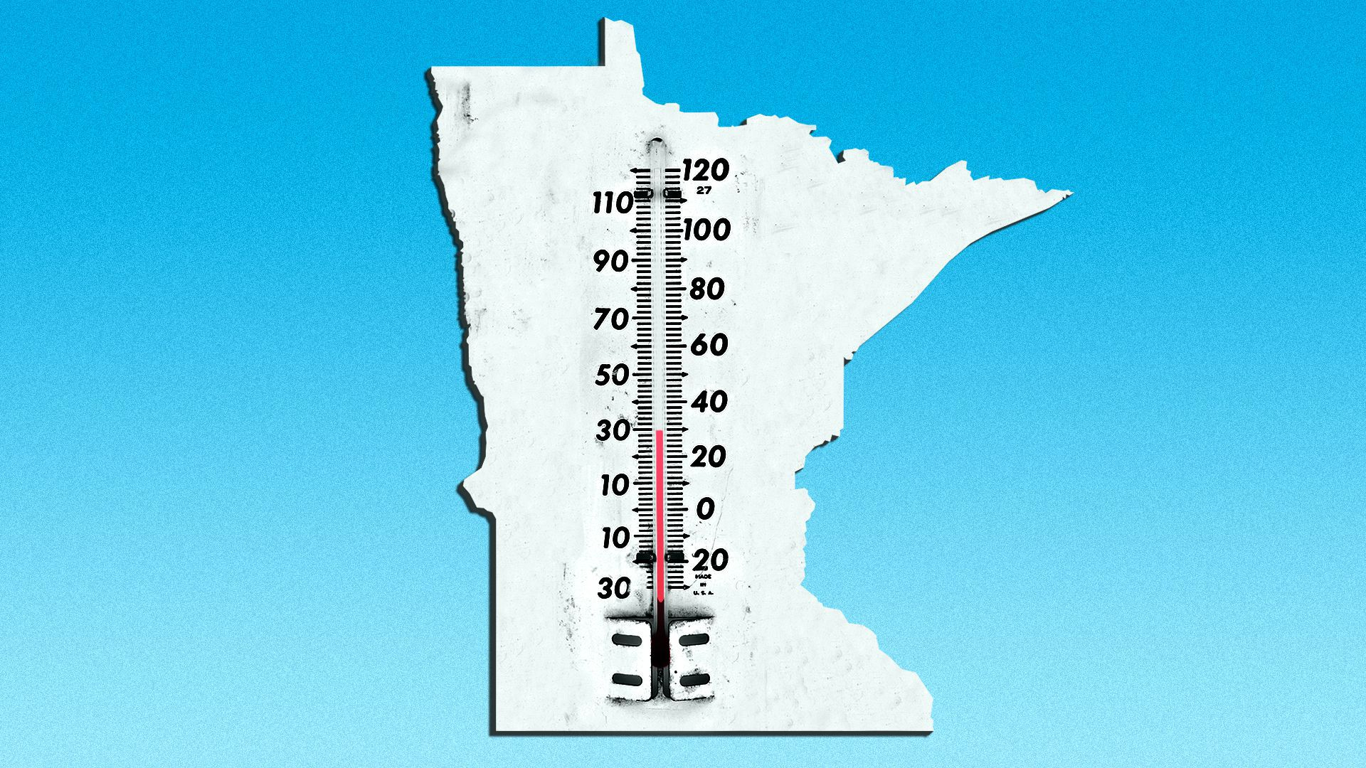 Illustration of a thermometer in the shape of Minnesota registering 30 degrees.
