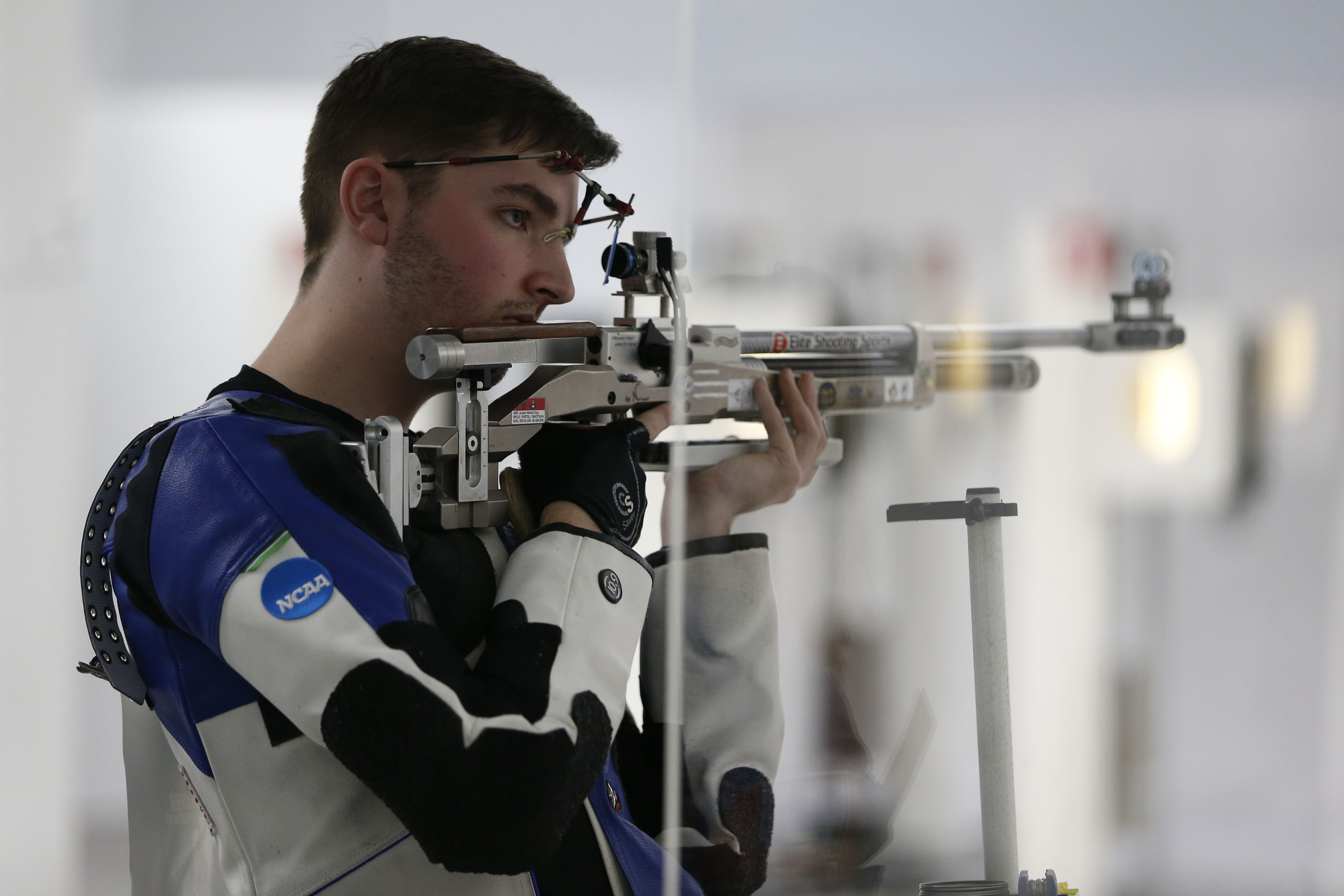 Will Shaner competes during the NCAA rifle championship in 2021.
