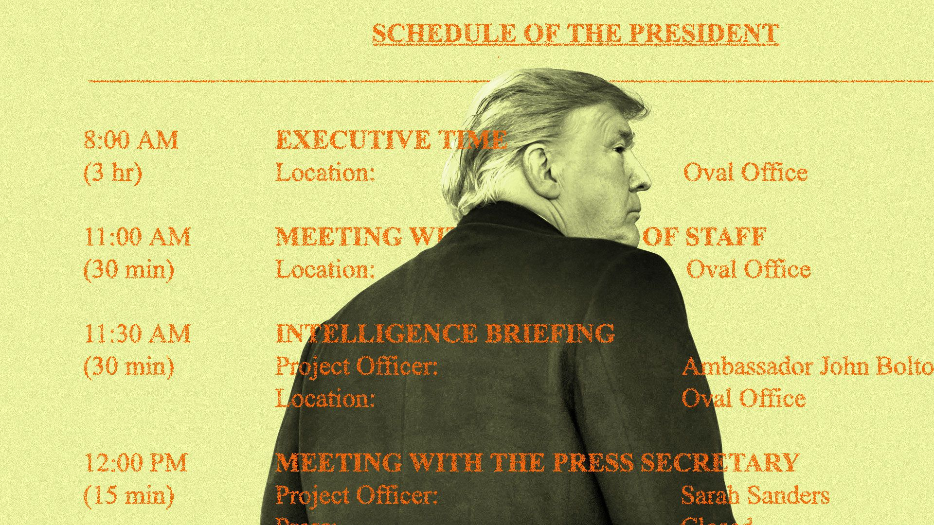 Photo of Trump, back to viewer, with a sparse schedule overlaying the image