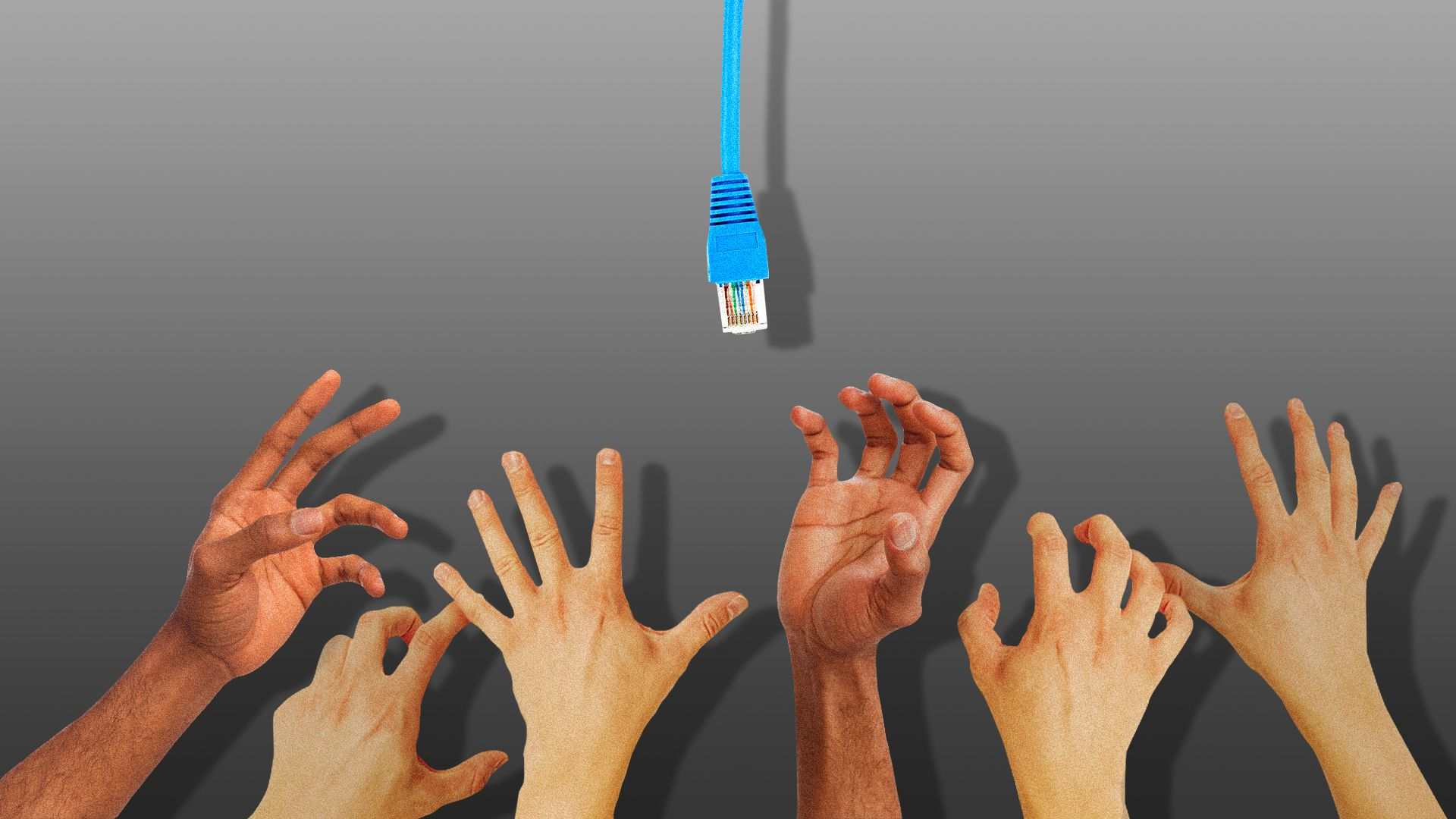 Illustration of hands reaching up to a dangling Ethernet cable.