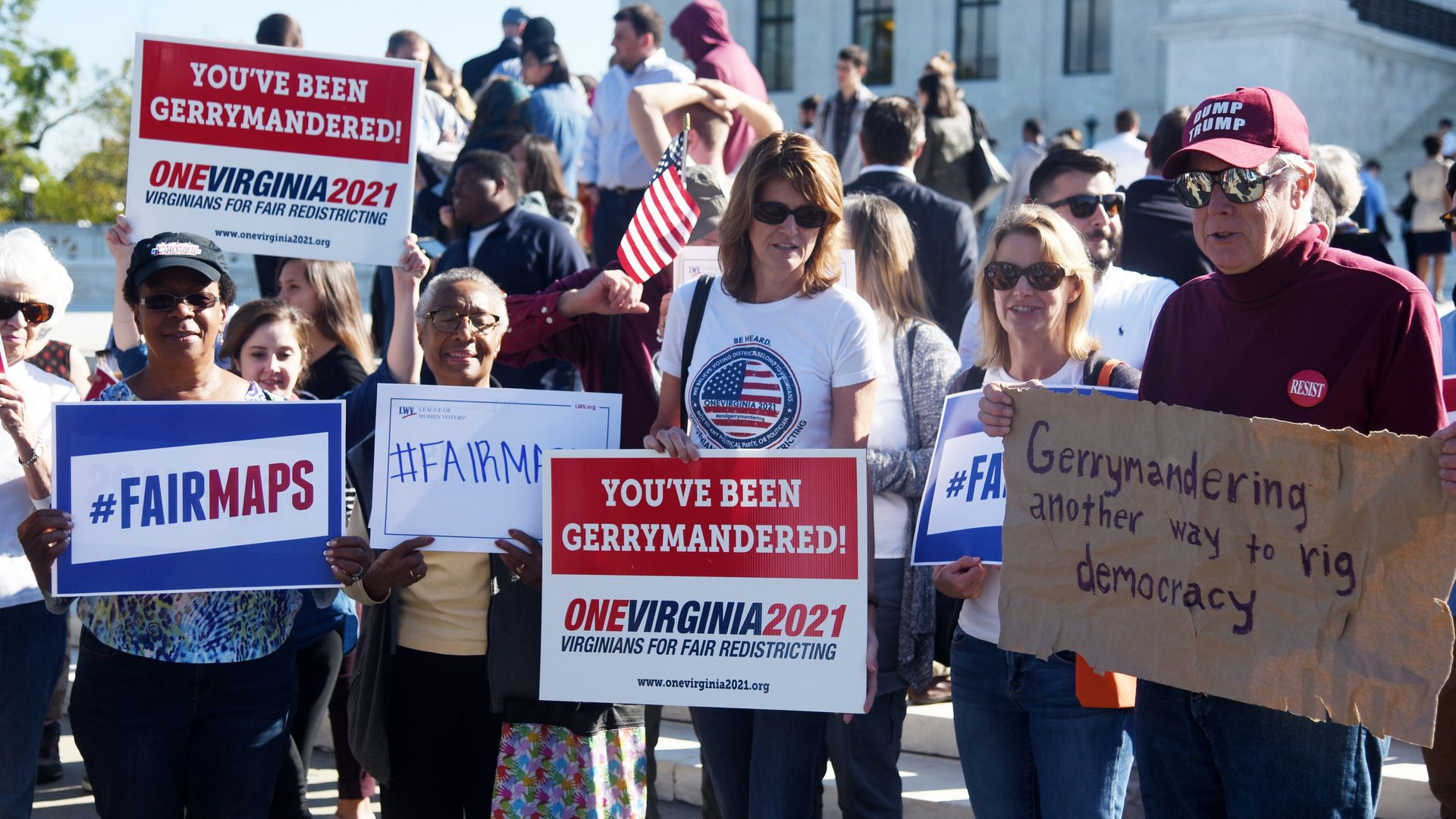 Demonstrators at a rally speaking out against gerrymandering  Photo: Olivier Douliery/Getty Images