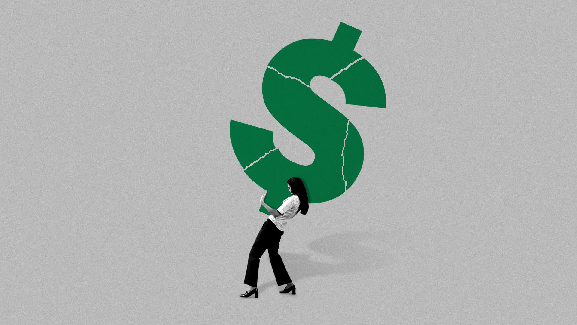 Illustration of woman struggling under the weight of crumbling dollar sign