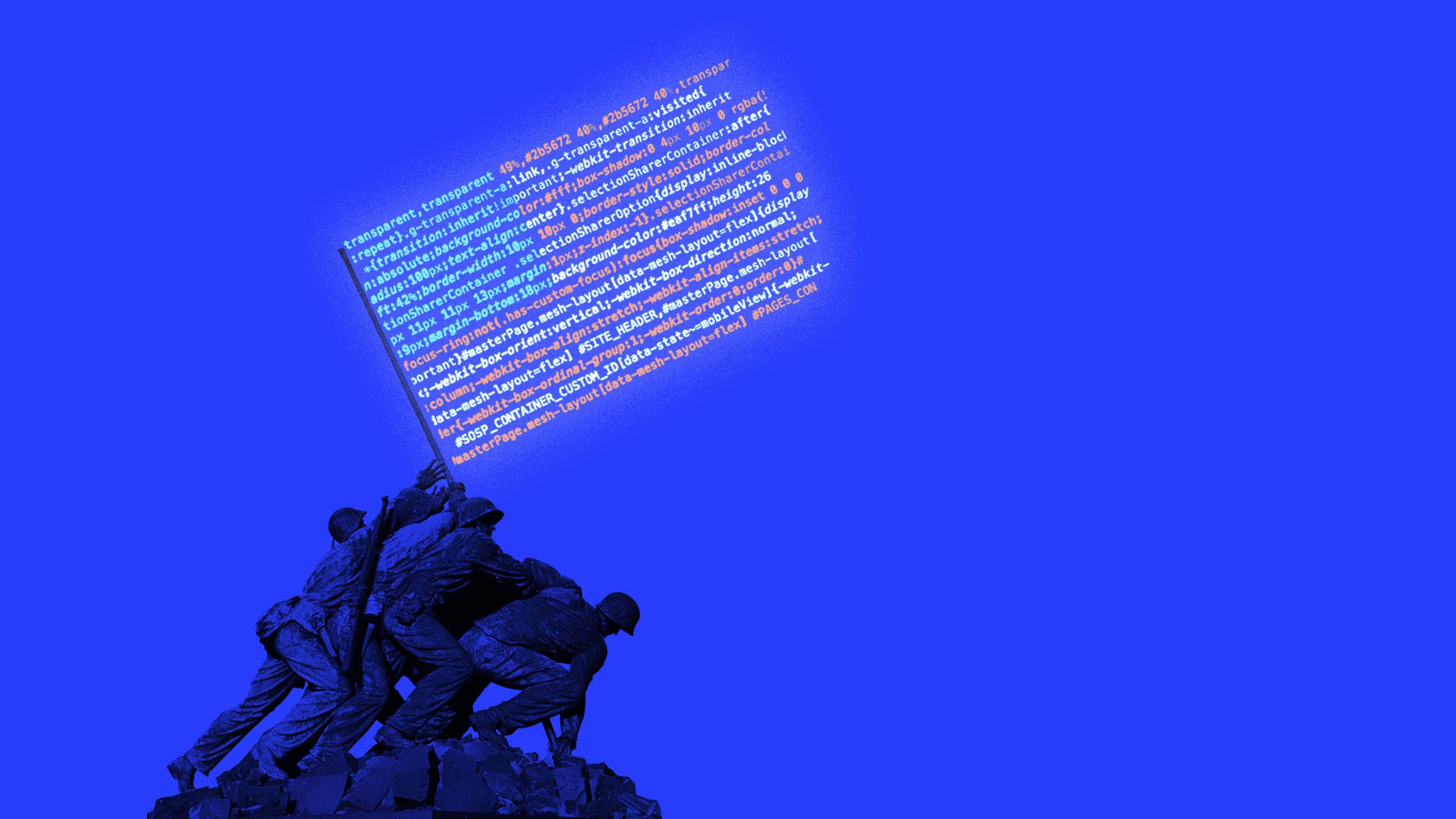 Illustration of Iwo Jima American flag raising with the flag in code