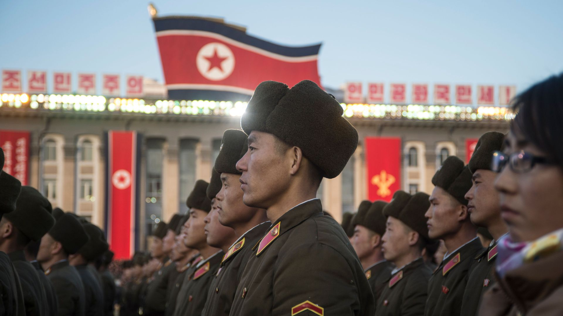 North Korean soldiers attend a mass rally in Kim Il-Sung Square in Pyongyang