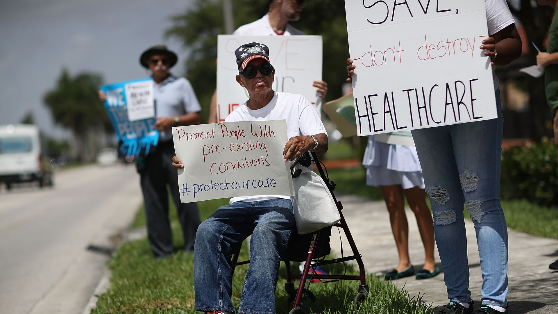Protestors in Miami, Florida