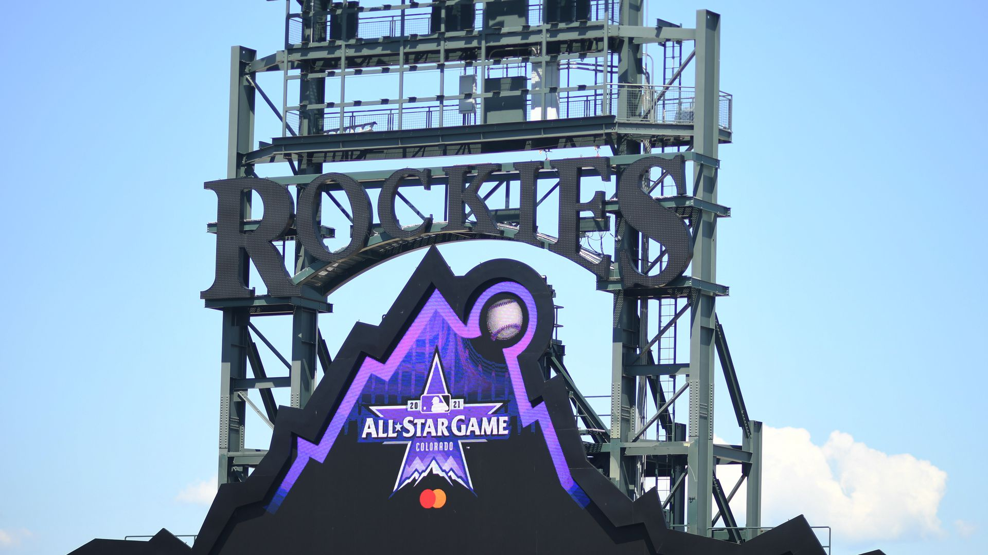 A photo of the Colorado Rockies sign a All-Star Game logo
