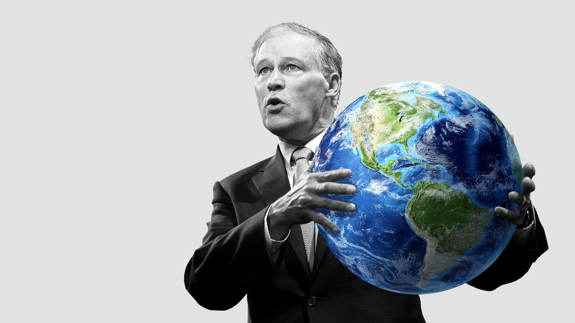 Illustration of Jay Inslee holding the planet earth.