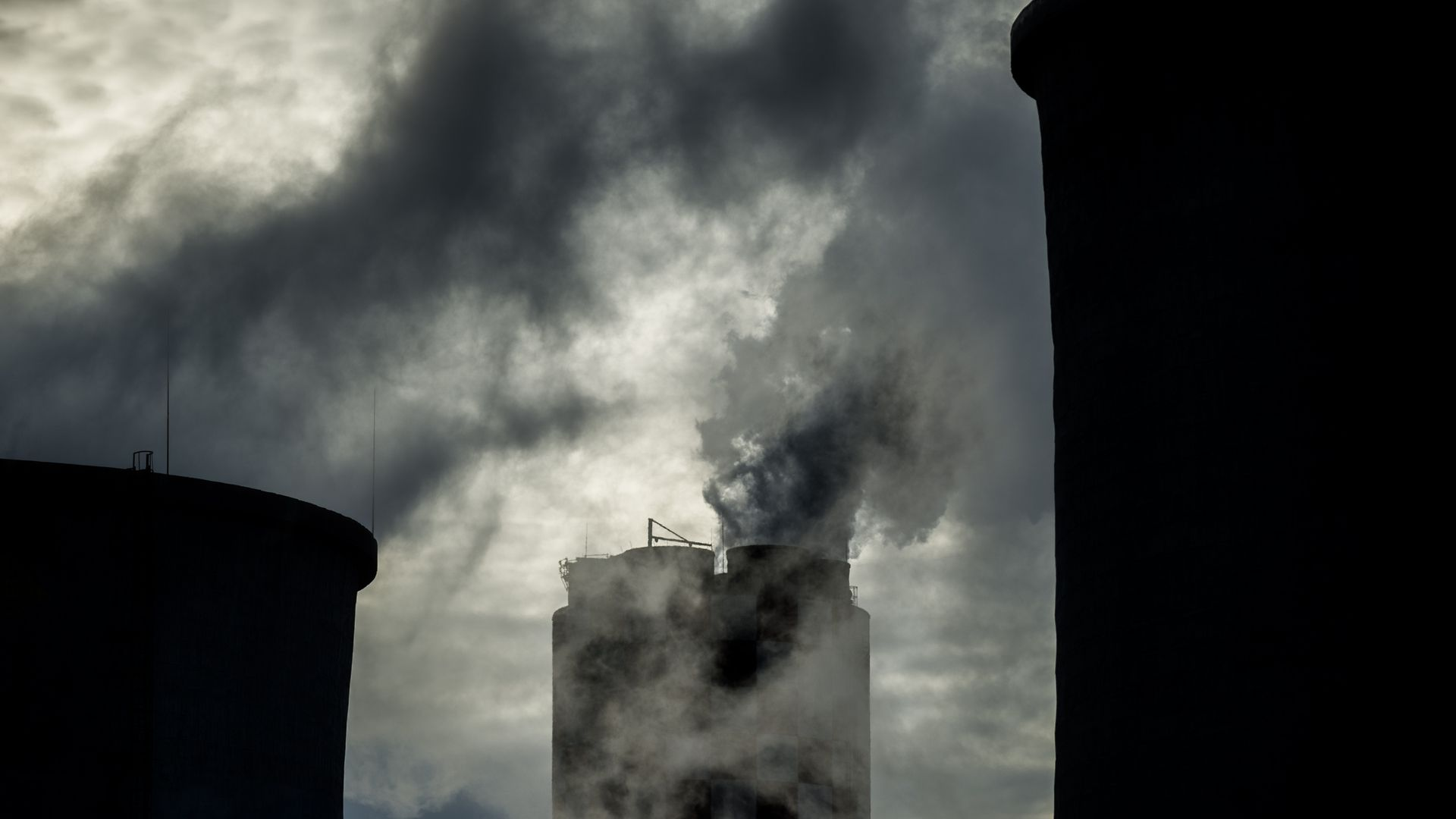 A factory releases CO2 emissions