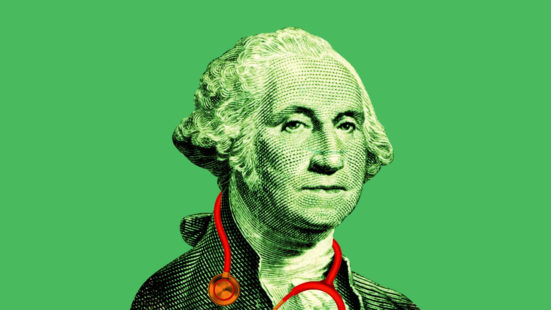 Illustration of George Washington with a stethoscope around his neck.