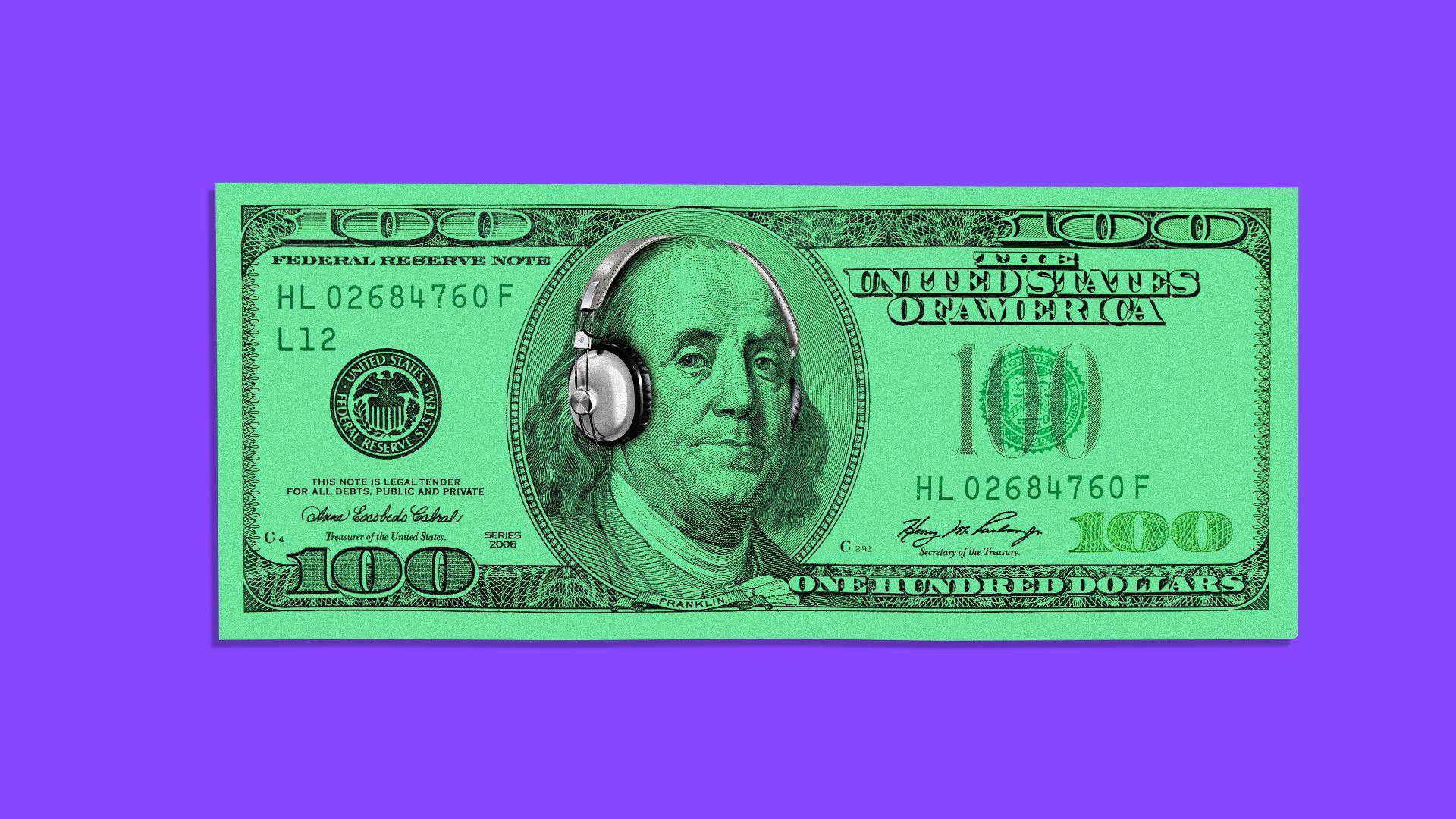 Illustration of a hundred dollar bill with Benjamin Franklin wearing headphones.