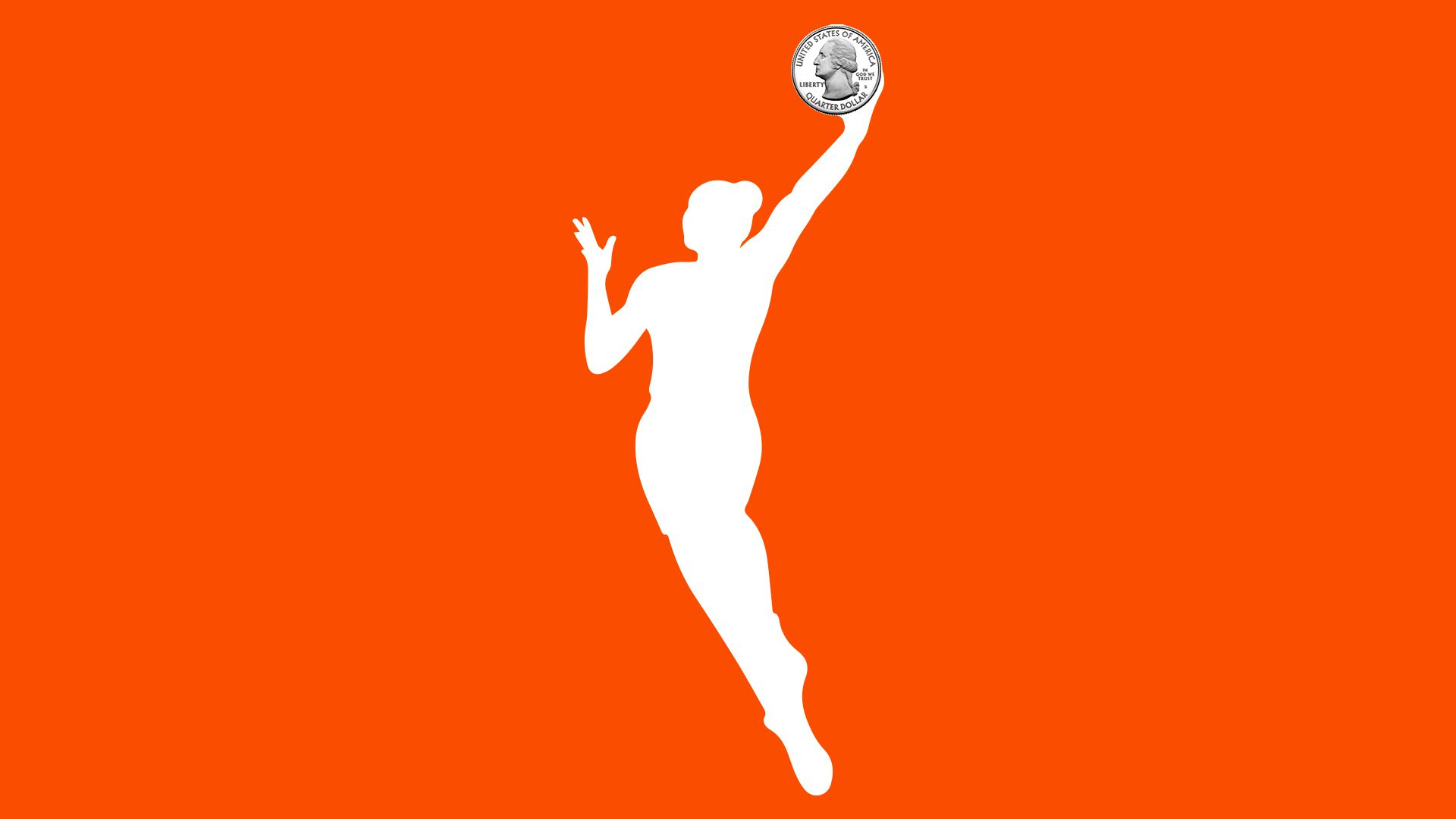 WNBA logo with a quarter in place of the basketball