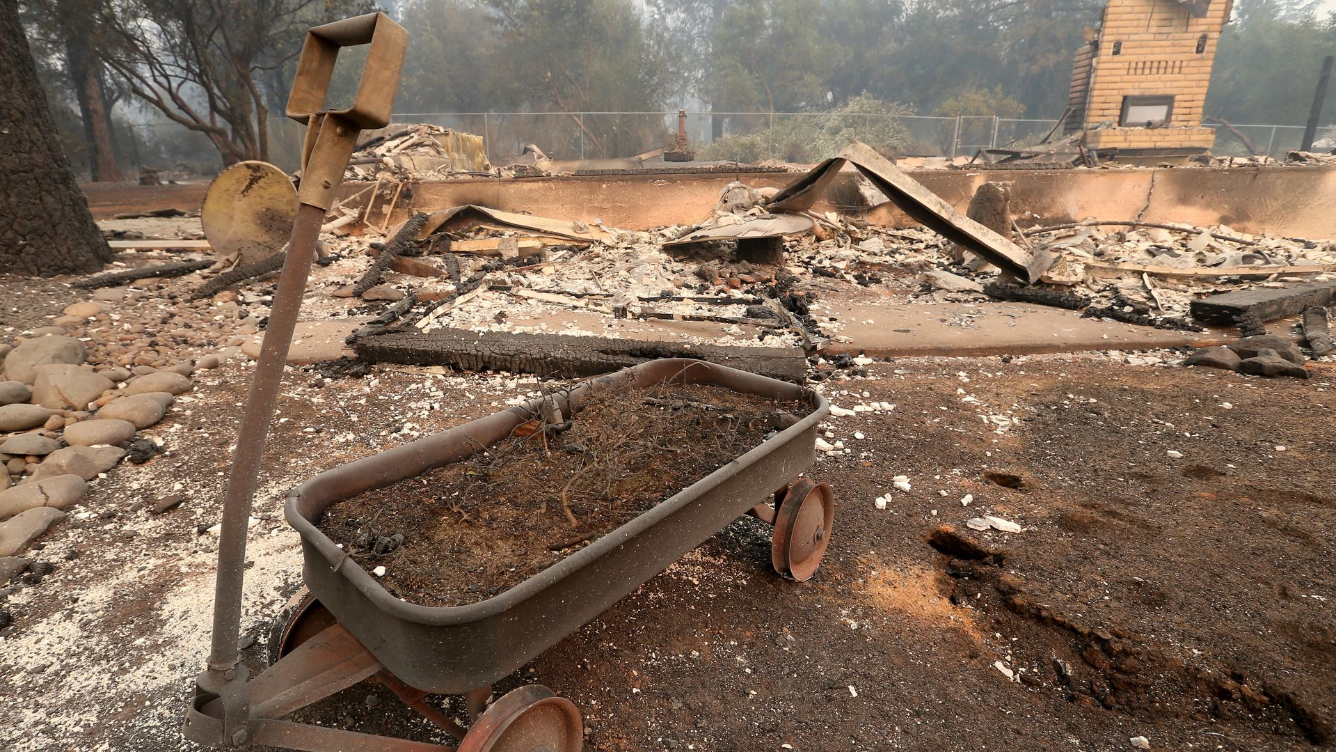 The remains of a house destroyed by the fire in Paradise, California