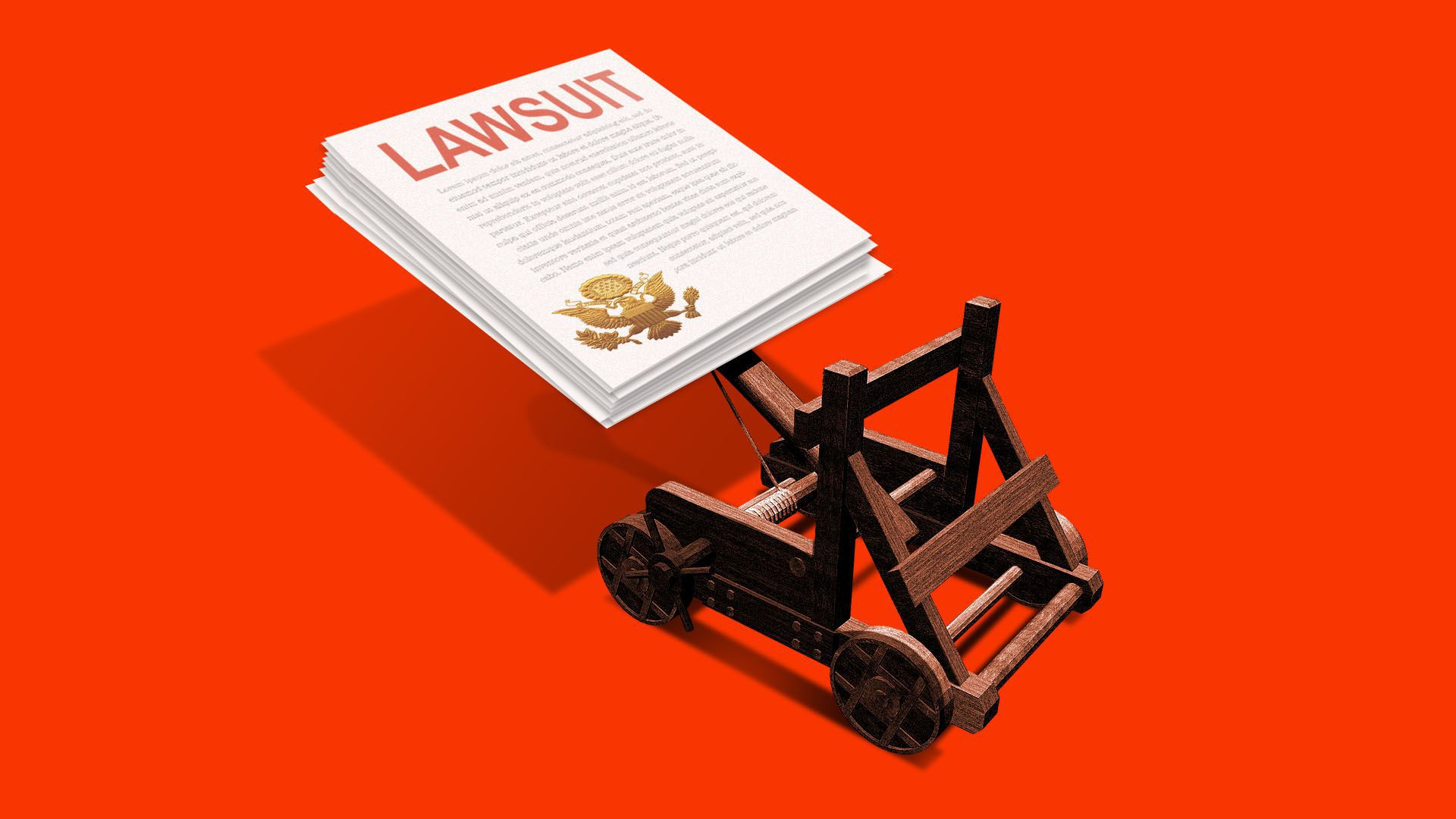 Illustration of a catapult loaded with a stack of lawsuit papers