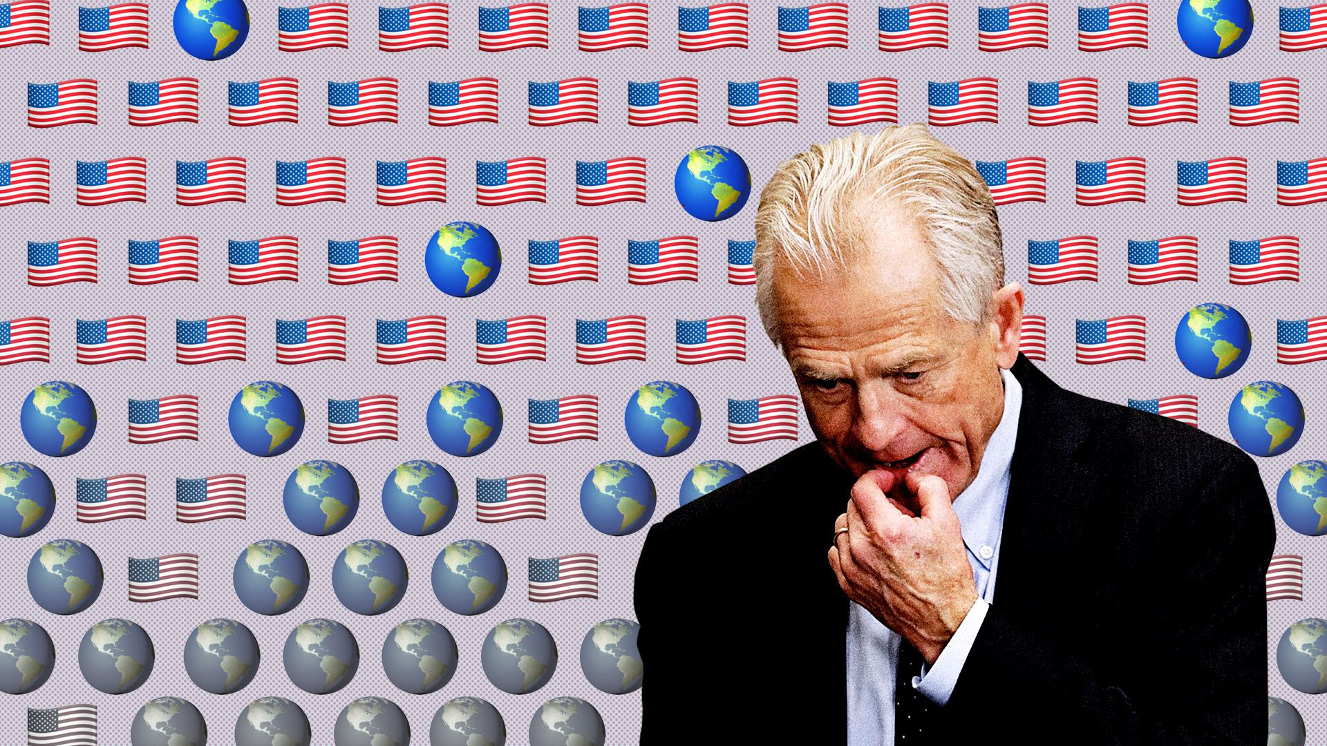 Peter Navarro against a backdrop of globes and American flags