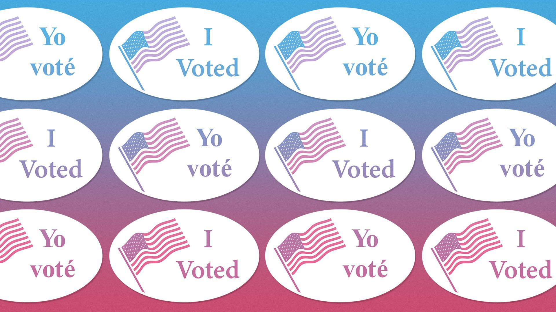 """Illustration of a pattern of """"I voted"""" stickers in Spanish and English."""