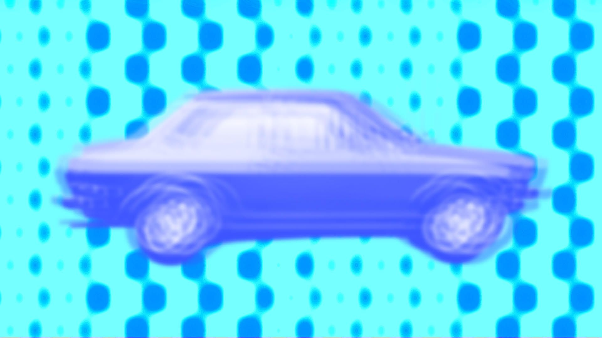 blurry illustrated car against a background of dots