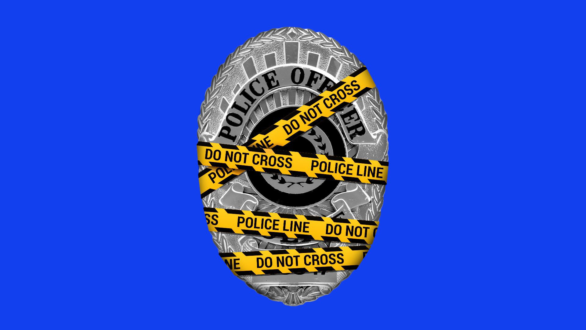 """Illustration of a police badge wrapped up in yellow tape that reads, """"Police Line Do Not Cross."""""""