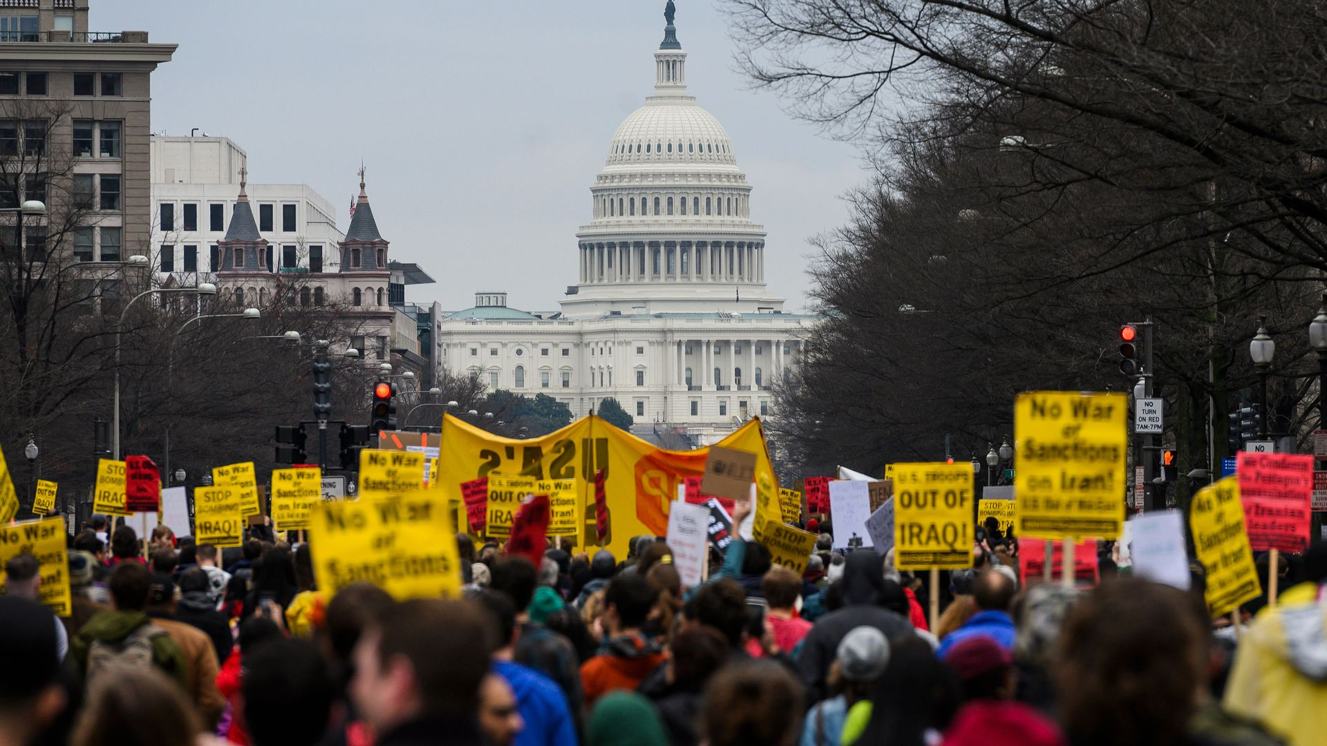 Anti-war activist march from the White House to the Trump International Hotel in Washington, DC