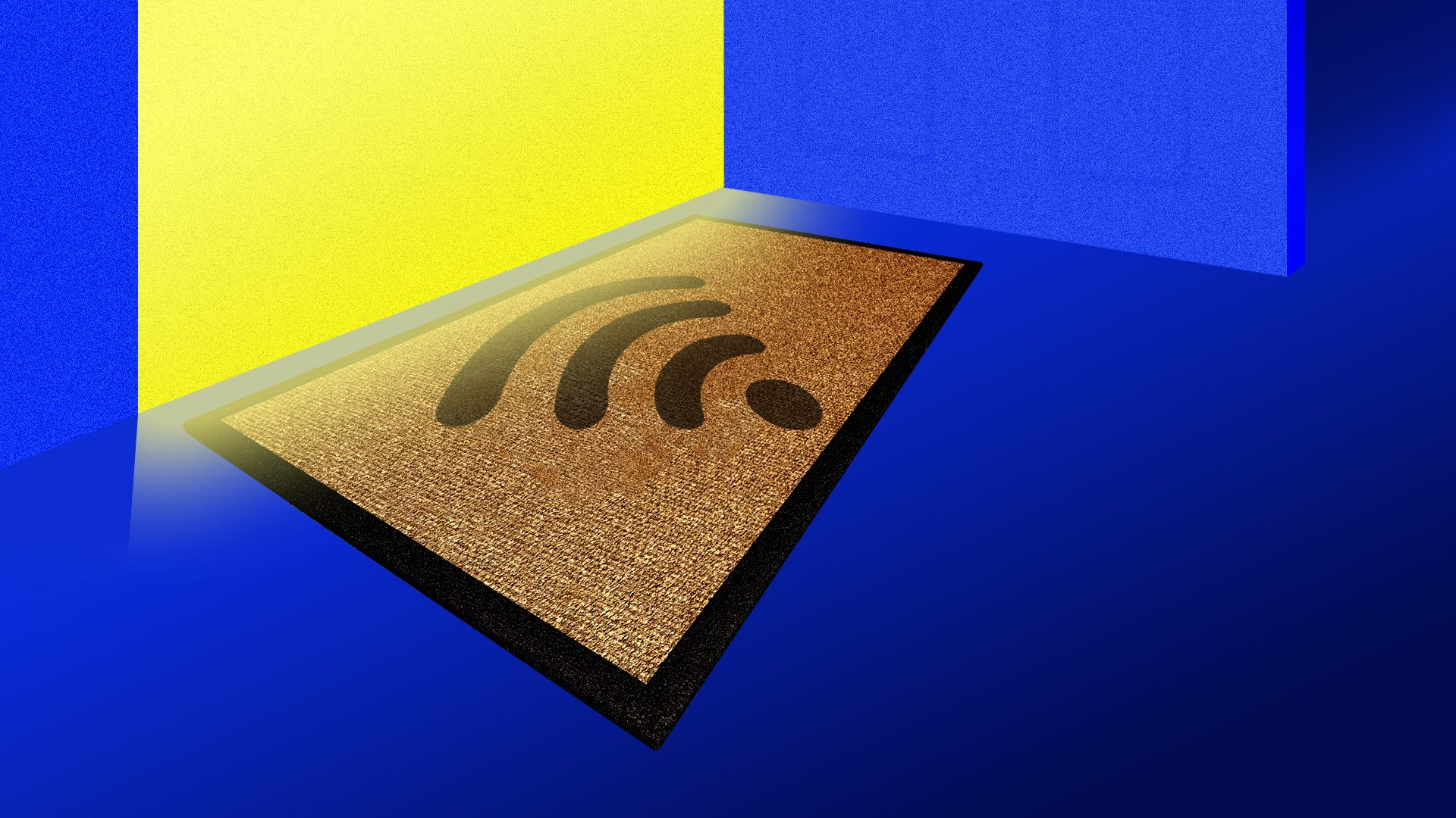 A doormat with a wifi symbol