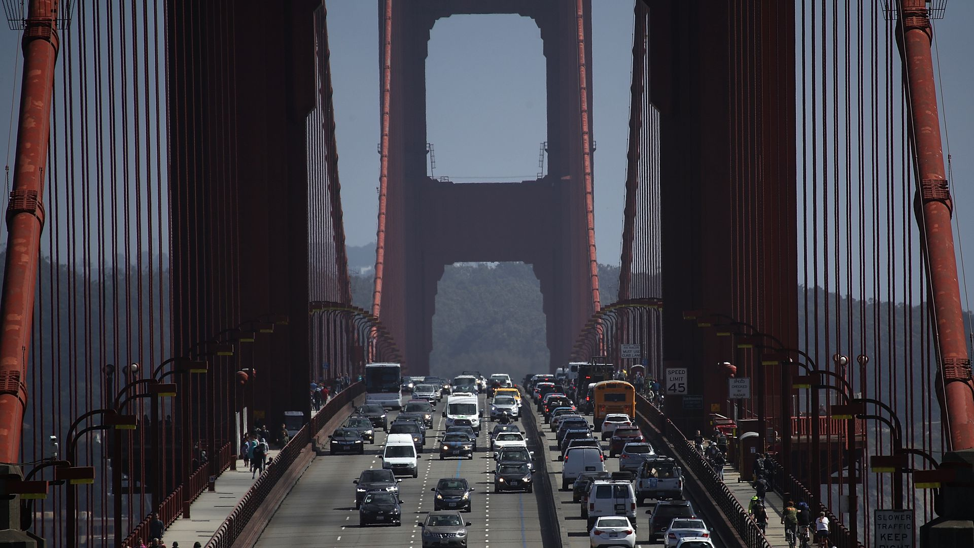 Cars drive over the Golden Gate Bridge on August 2, 2018 in Sausalito, California.
