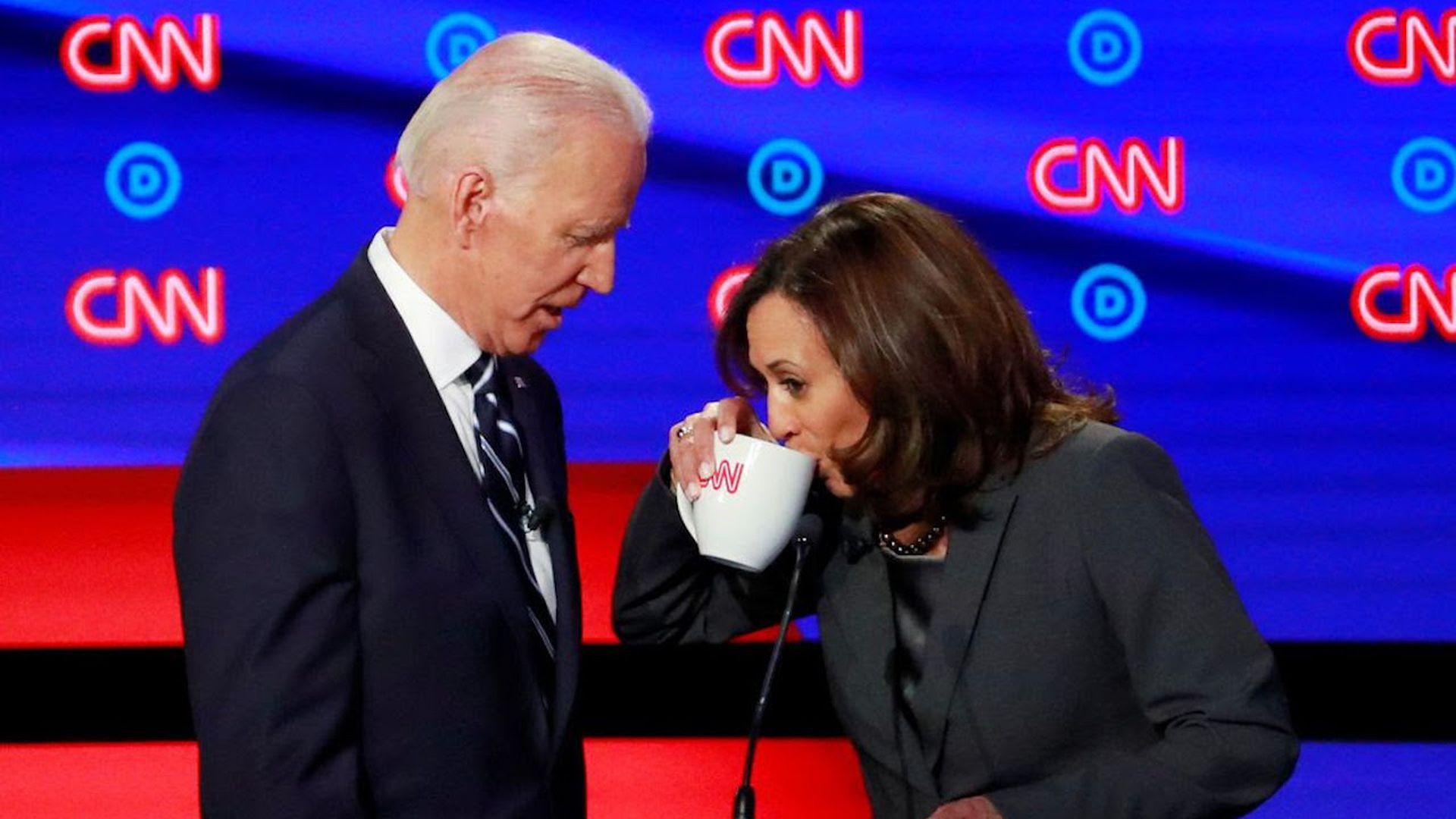 Former Vice President Joe Biden and Sen. Kamala Harris at the second Democratic primary debates in Detroit