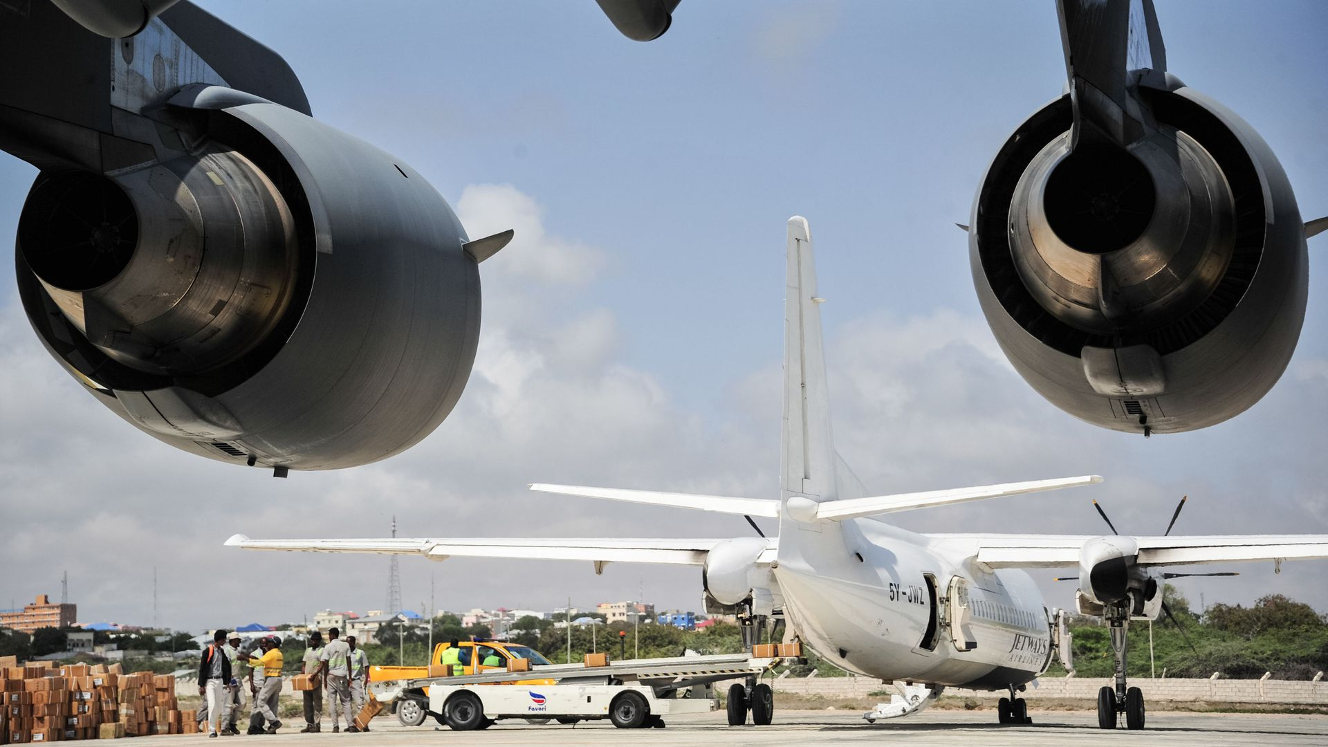 Two airplanes are visible at Aden Adde  international airport in Mogadishu.