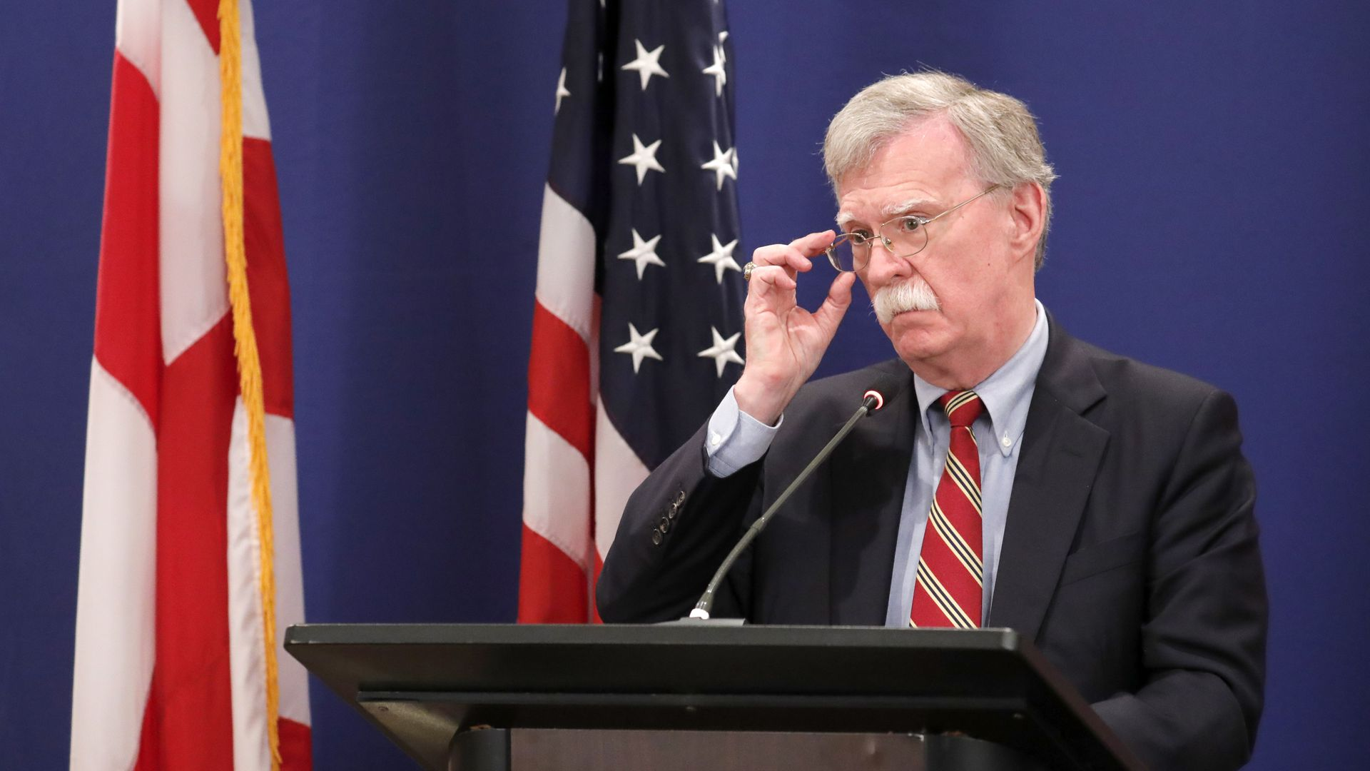 John Bolton, National Security Adviser to the US President, gives a press briefing in Tbilisi.