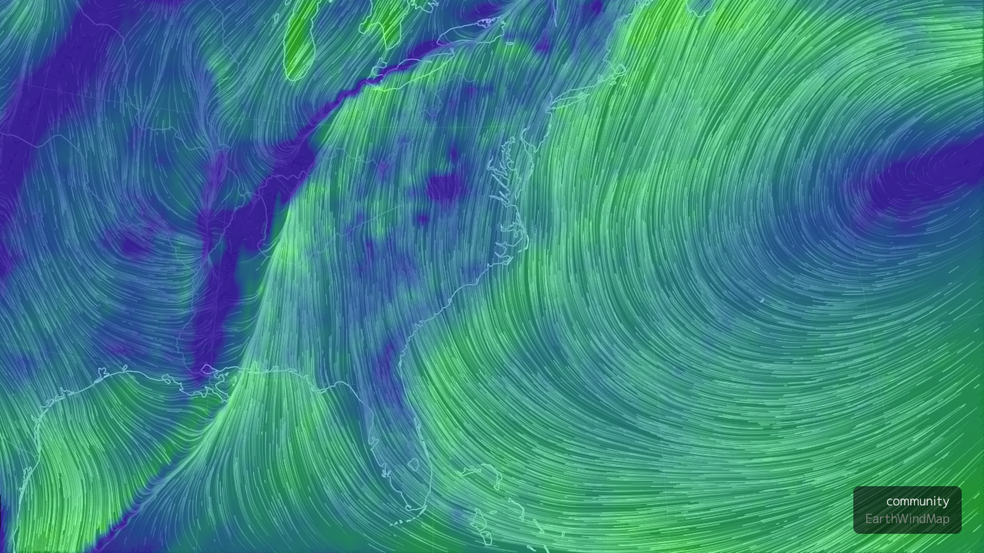 This image is a live weather illustration of the Southeast
